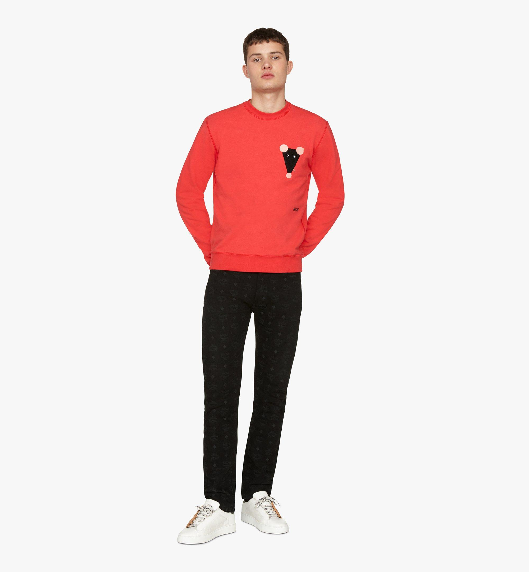 MCM Men's Year Of The Mouse Mockneck Sweatshirt Red MHAASSE02R400L Alternate View 2