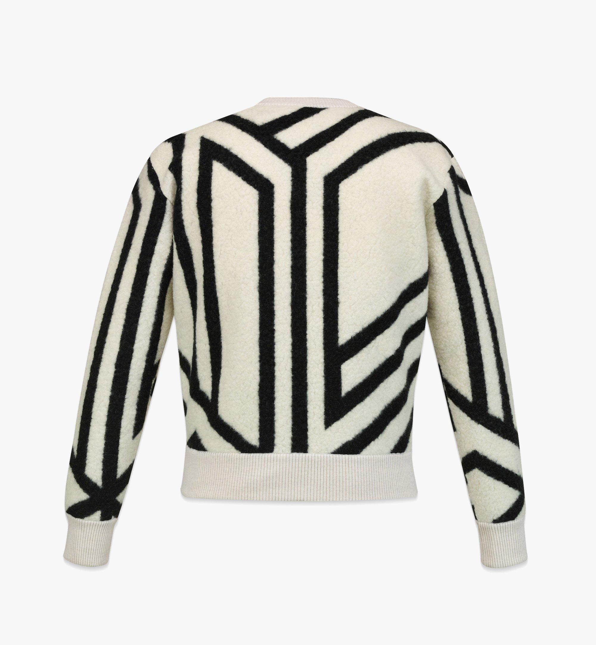MCM Men's Cubic Monogram Wool Sweatshirt White MHABAMM02W700L Alternate View 1