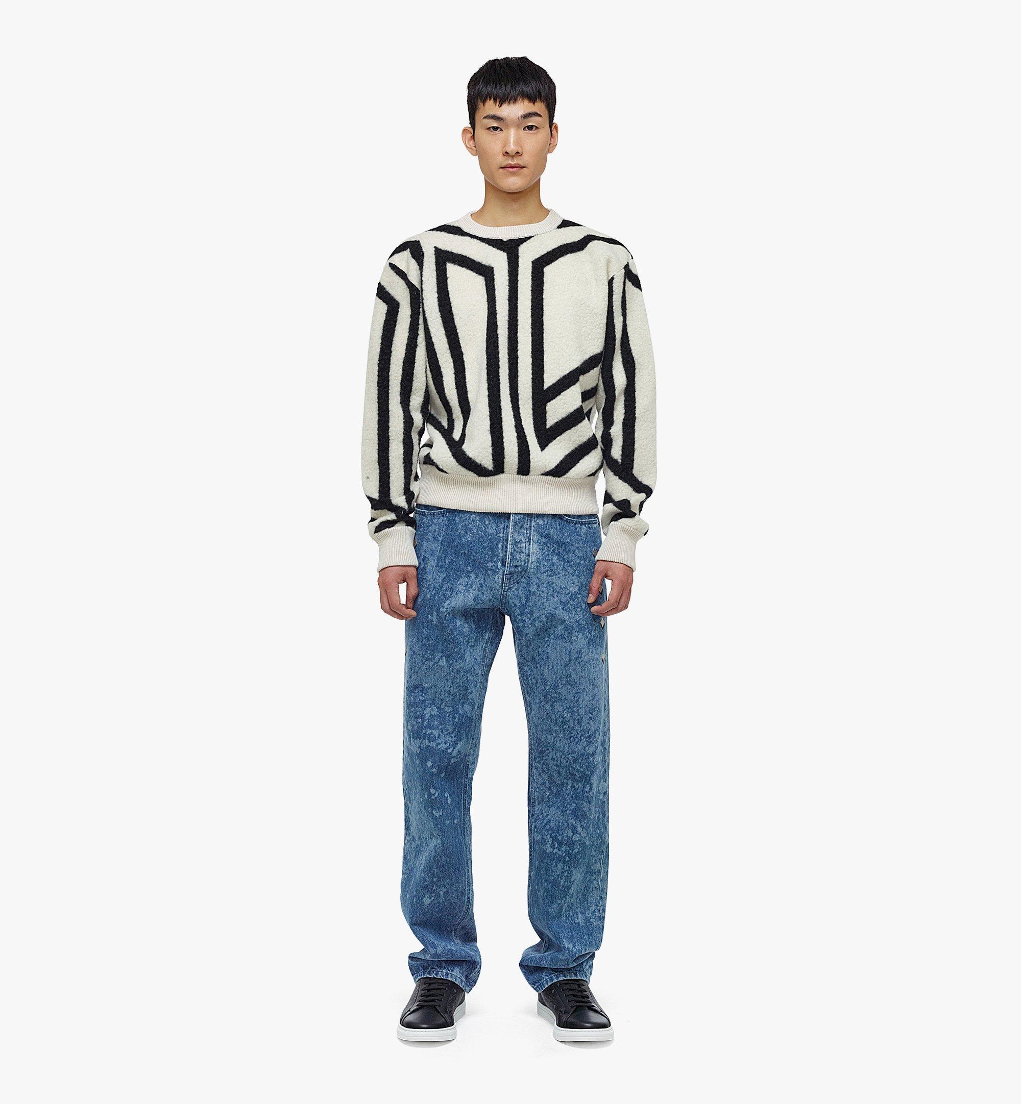 MCM Men's Cubic Monogram Wool Sweatshirt White MHABAMM02W700L Alternate View 3