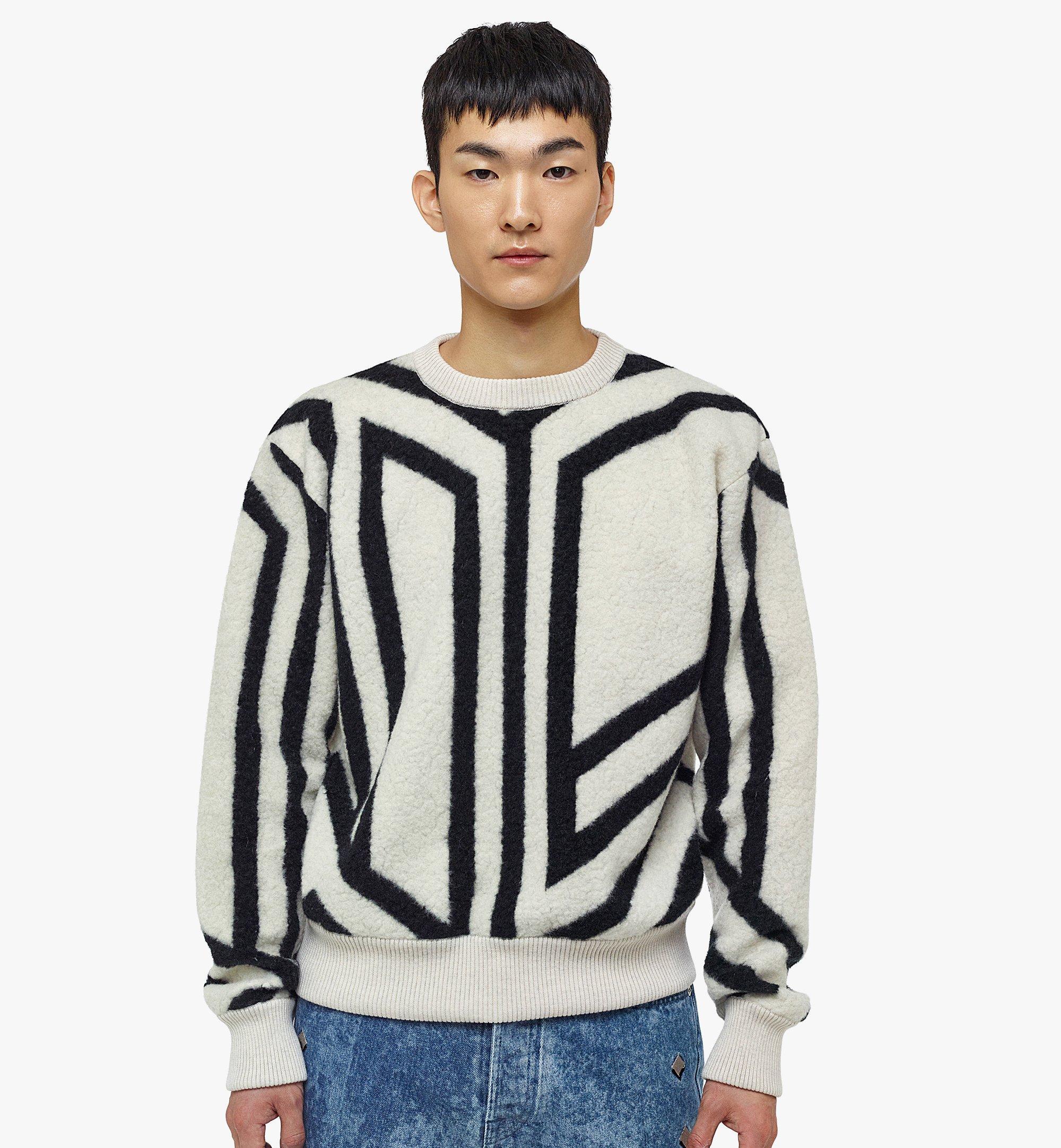 MCM Men's Cubic Monogram Wool Sweatshirt White MHABAMM02W700L Alternate View 2