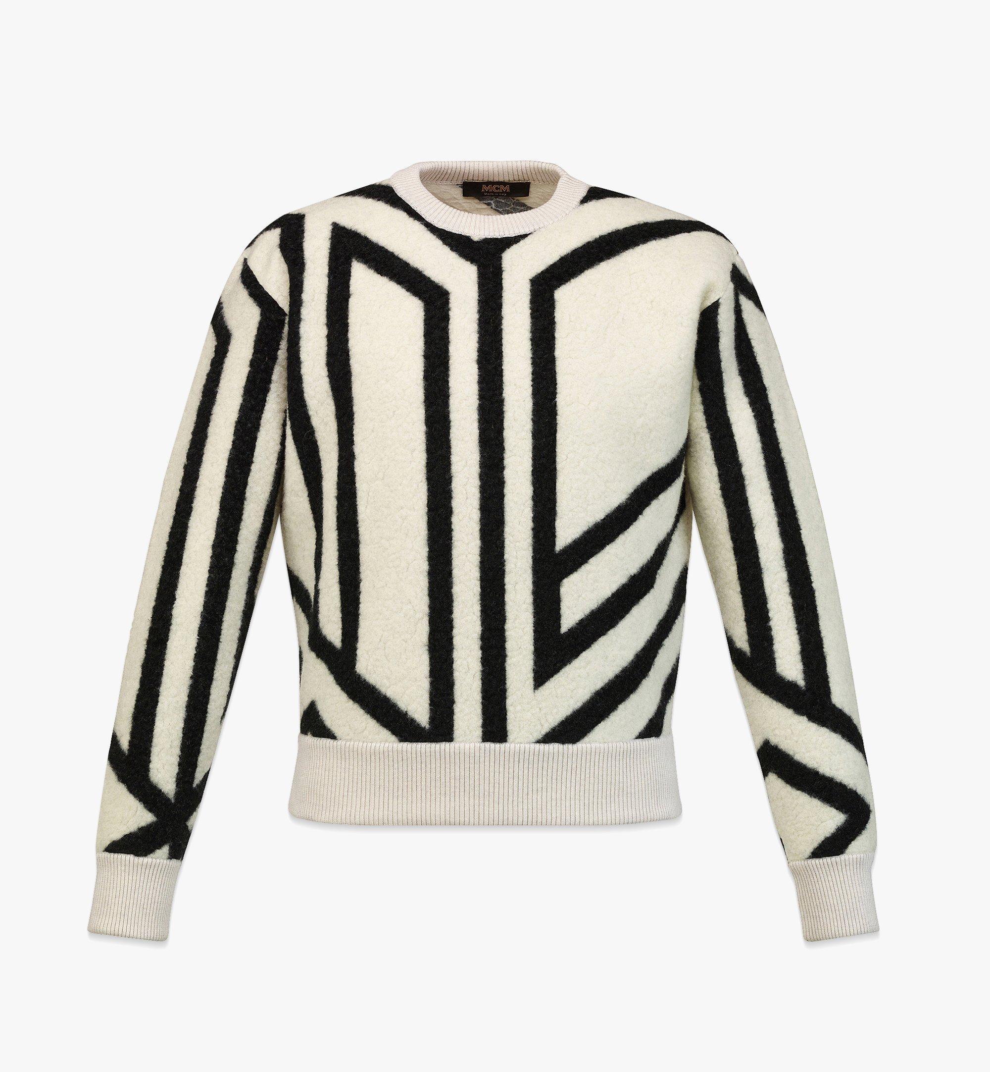 MCM Sweat-shirt à monogramme cubique en laine pour homme White MHABAMM02W700M Plus de photos 1