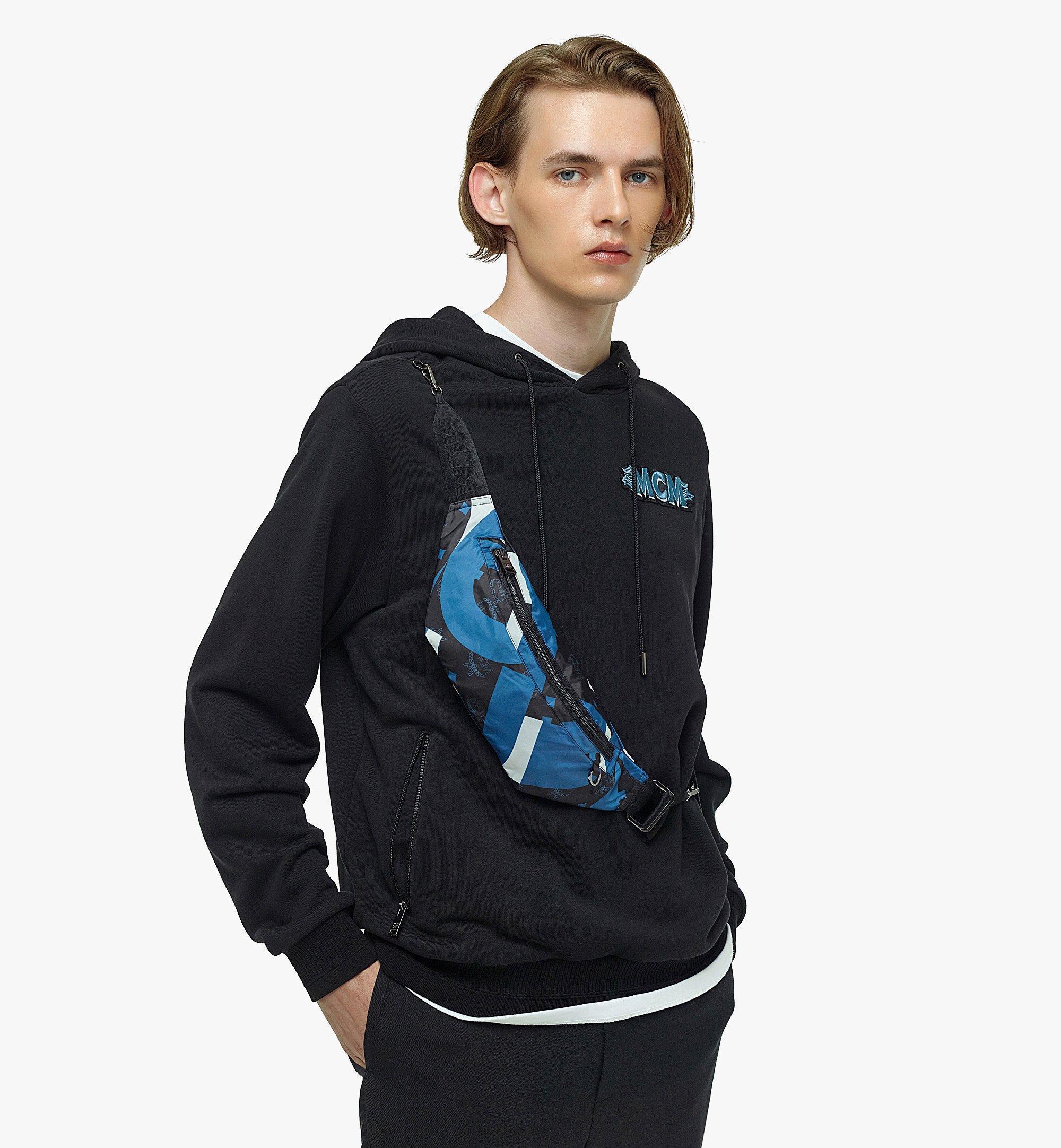 MCM Men's Logo Hoodie w/ Wave Visetos Belt Bag Blue MHABASX02H900M Alternate View 2