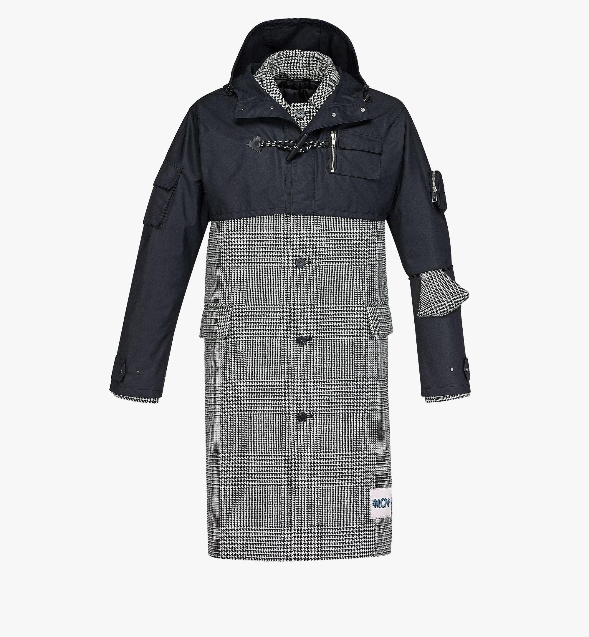 MCM Men's Check Wool Coat with Nylon Overlay Black MHCBAMM01BK046 Alternate View 1