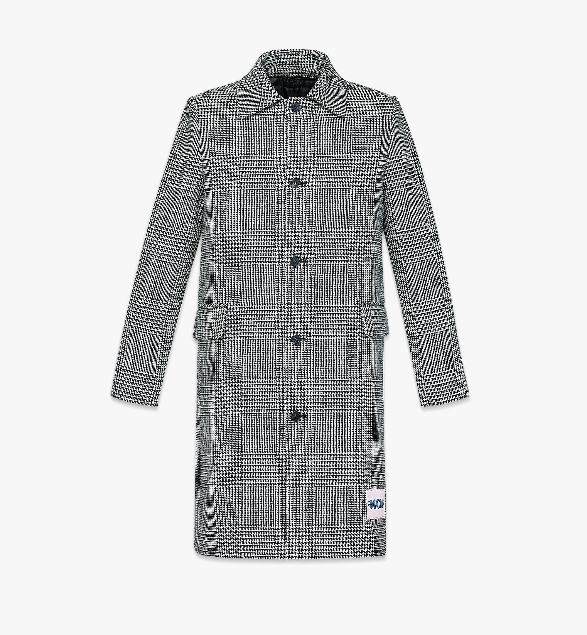 MCM Men's Check Wool Coat with Nylon Overlay Black MHCBAMM01BK046 Alternate View 2