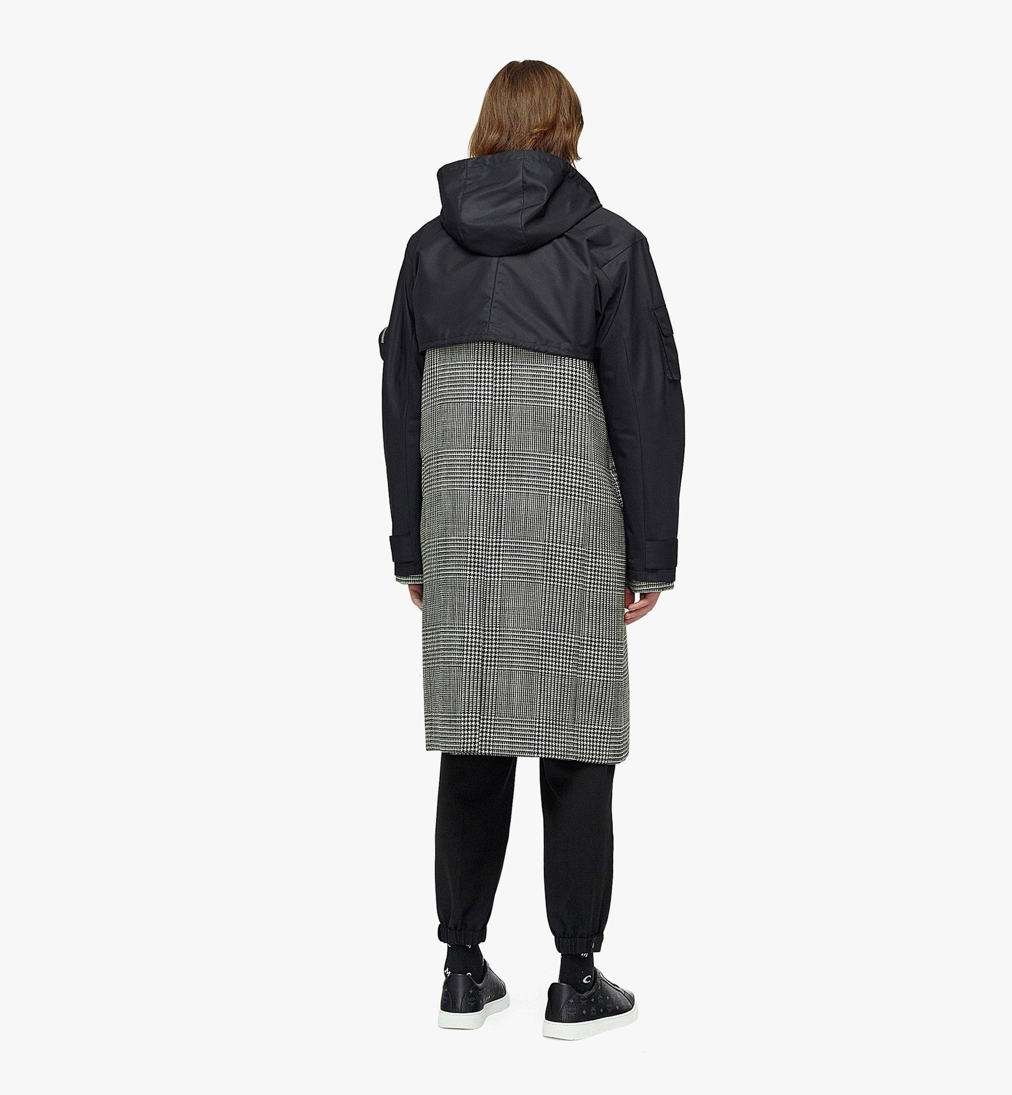 MCM Men's Check Wool Coat with Nylon Overlay Black MHCBAMM01BK046 Alternate View 5