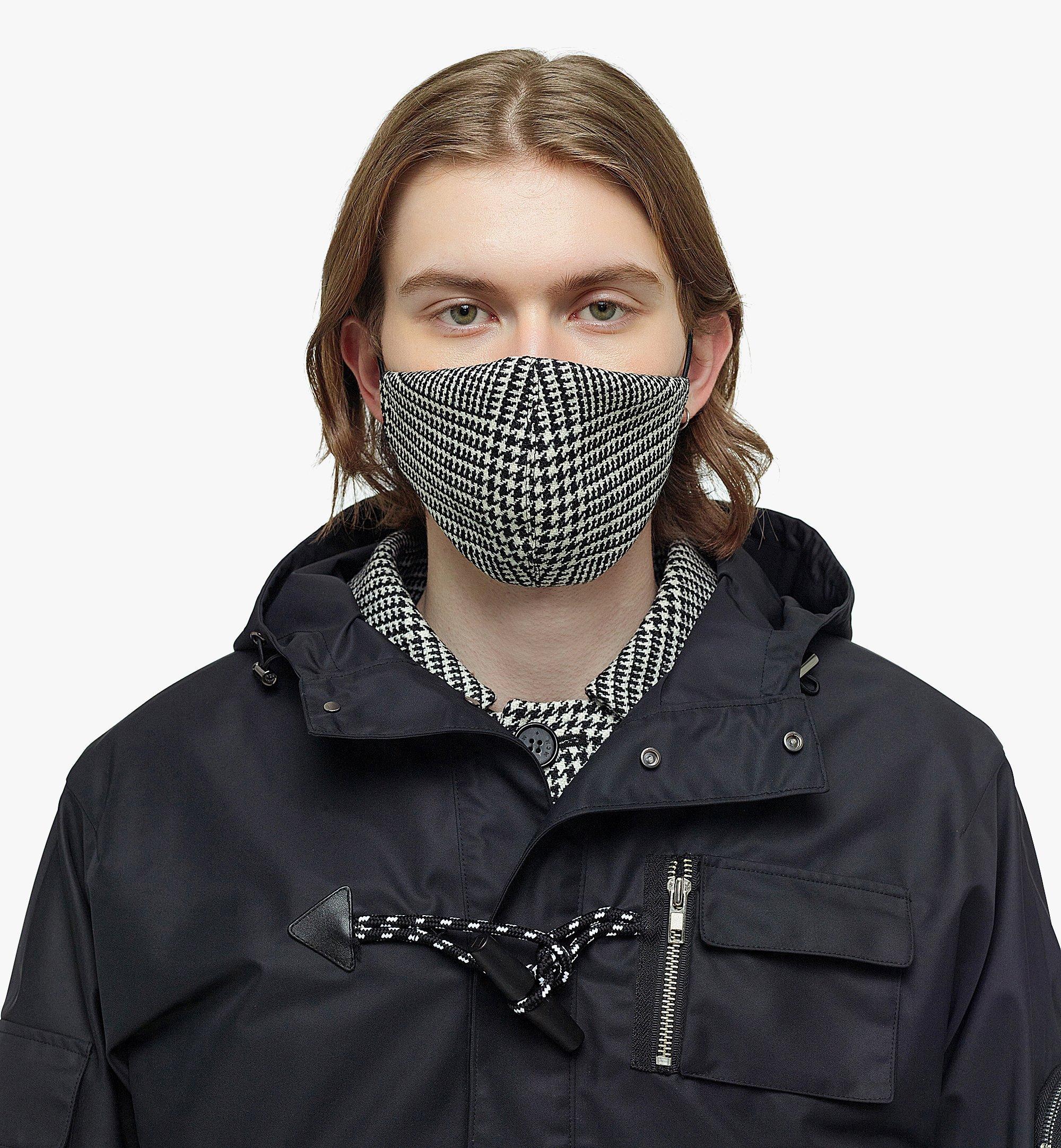 MCM Men's Check Wool Coat with Nylon Overlay Black MHCBAMM01BK046 Alternate View 6