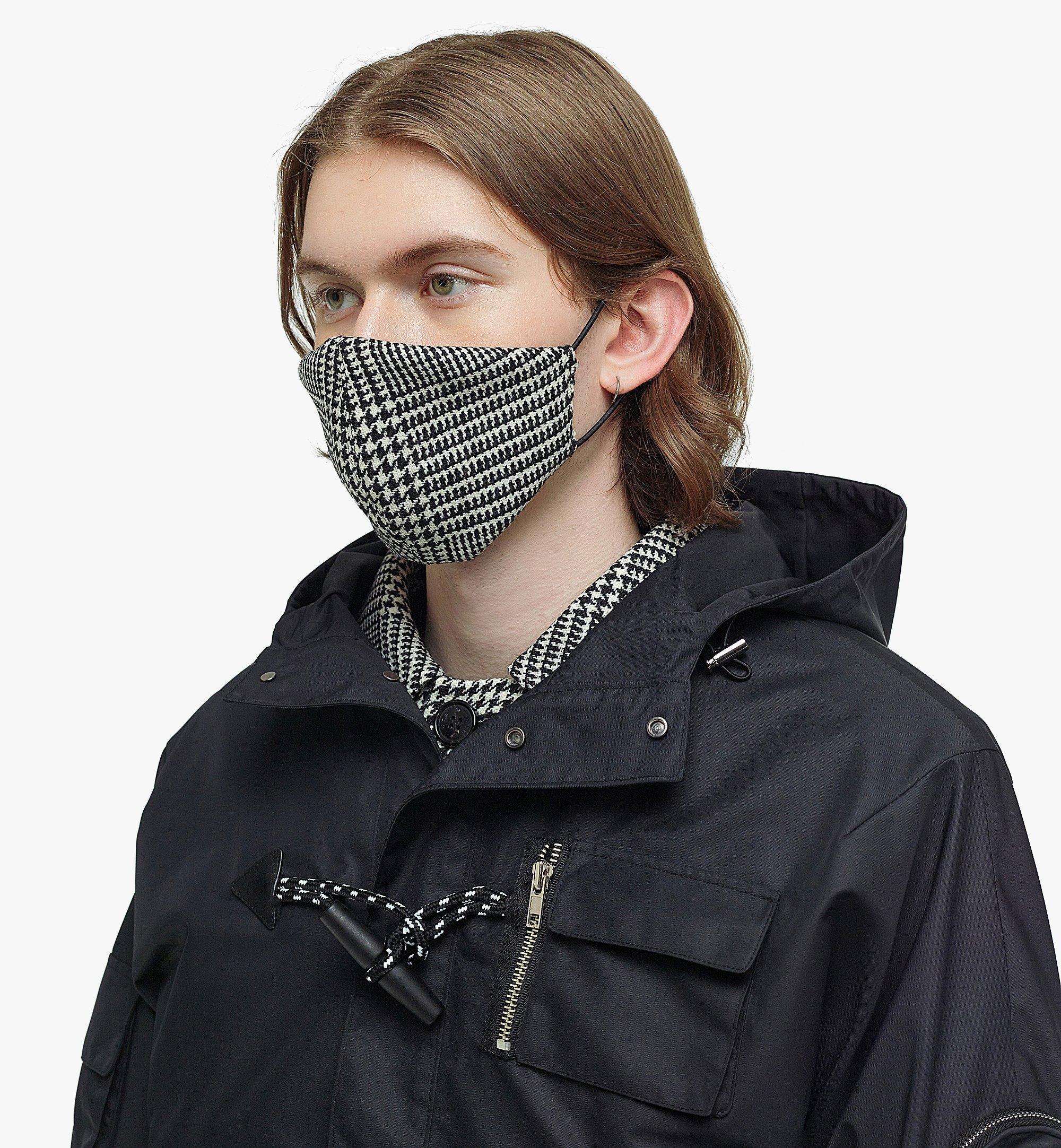 MCM Men's Check Wool Coat with Nylon Overlay Black MHCBAMM01BK046 Alternate View 7