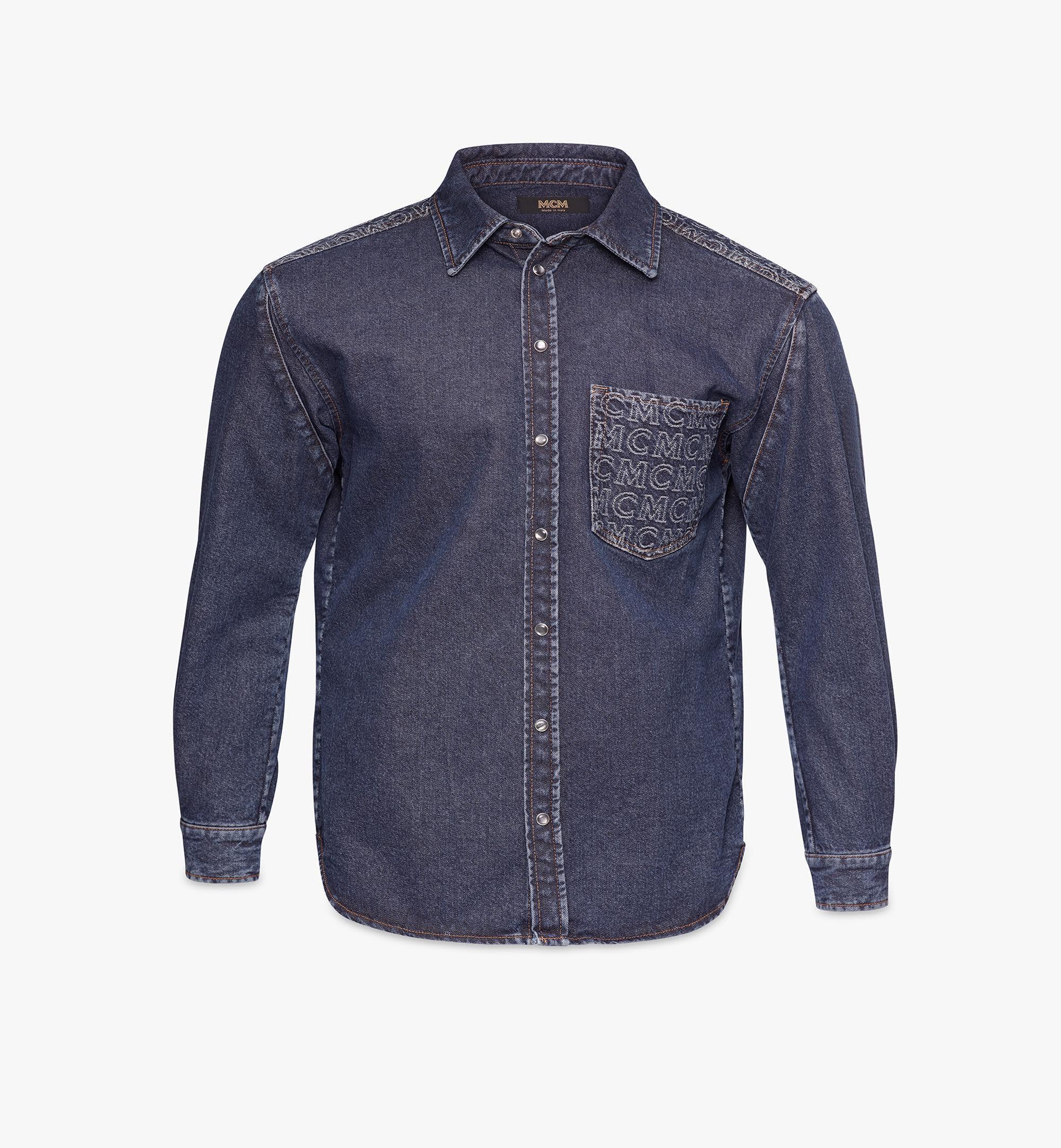 MCM Men's Denim Shirt Black MHHAADS01VW046 Alternate View 1