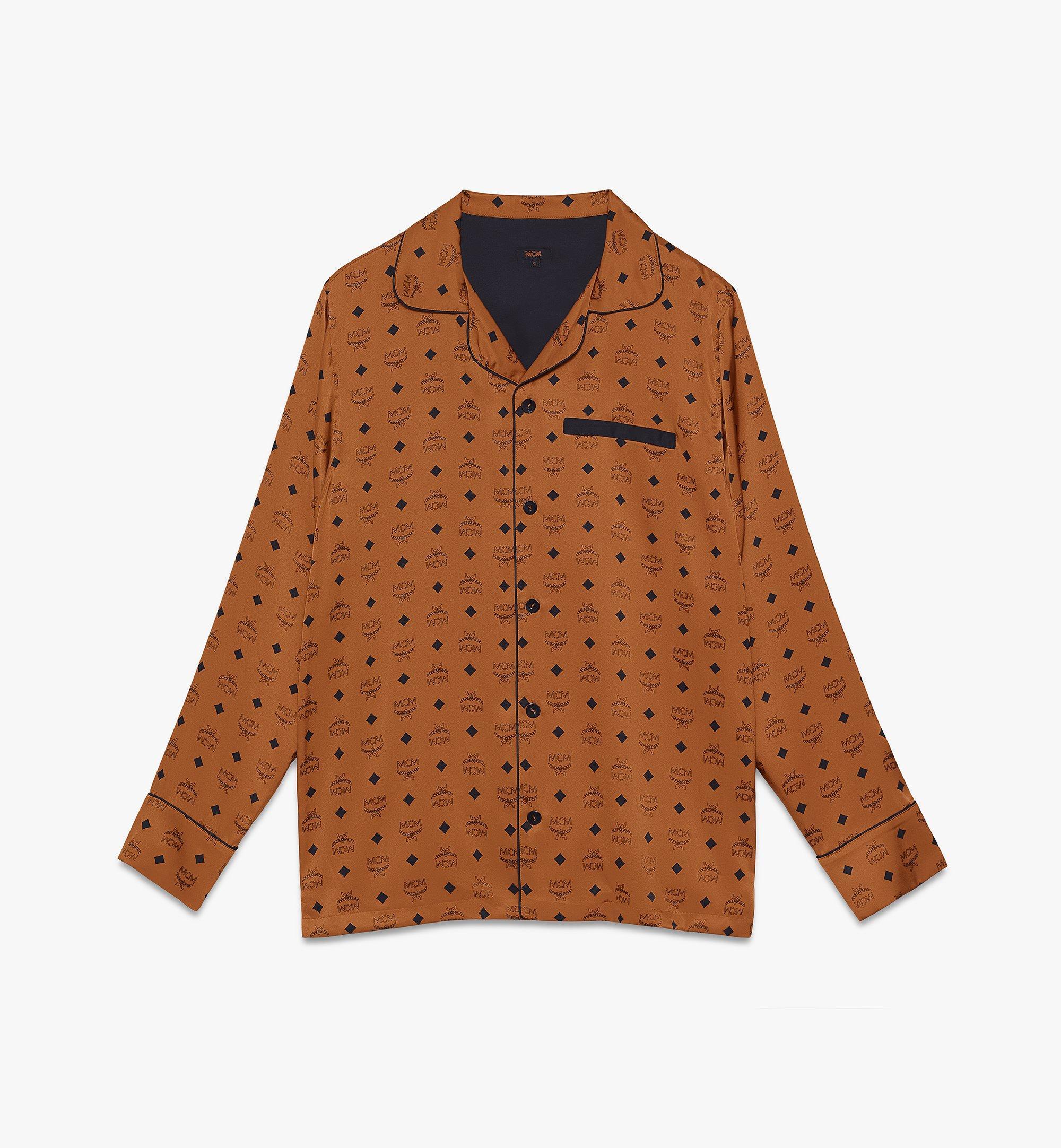 MCM Classic Logo Silk Pajama Shirt Cognac MHHASBM01CO00L Alternate View 1