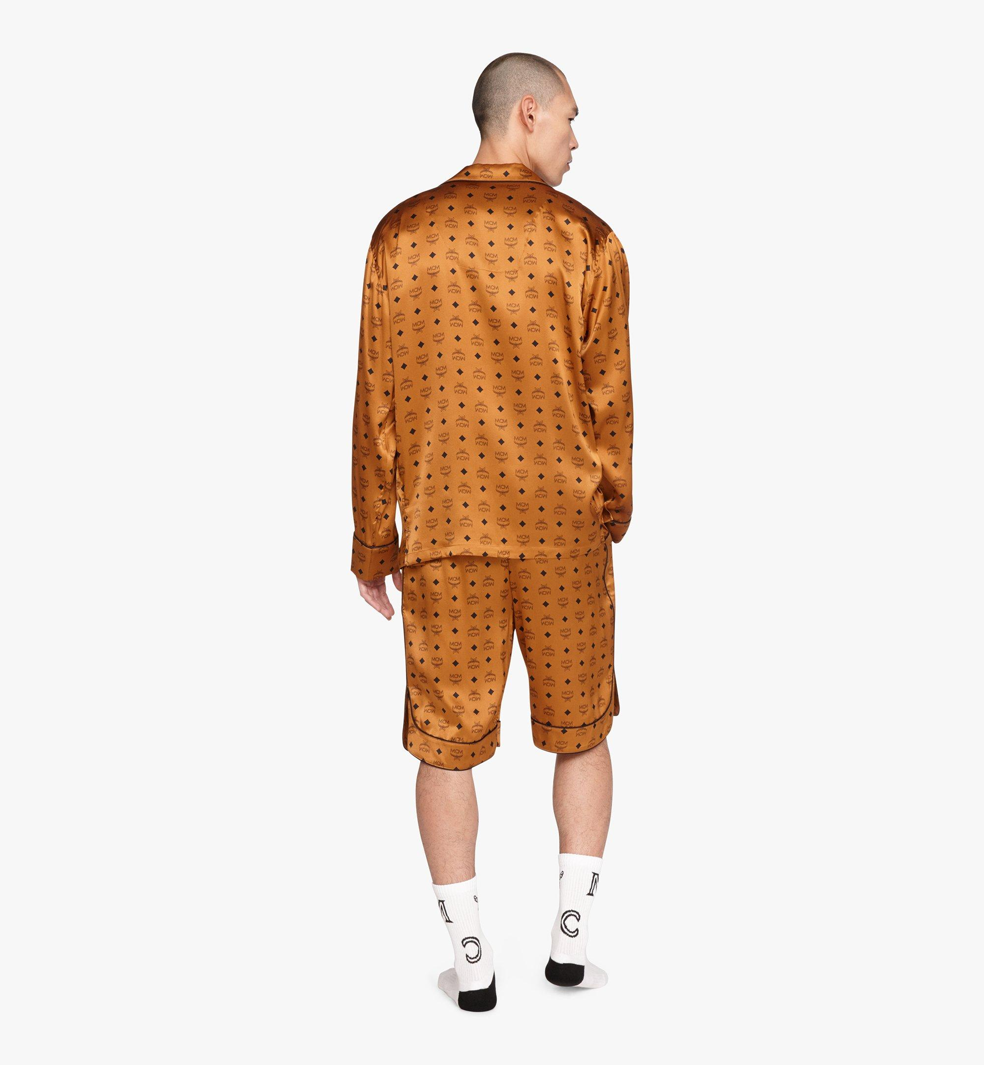 MCM Classic Logo Silk Pajama Shirt Cognac MHHASBM01CO00L Alternate View 2