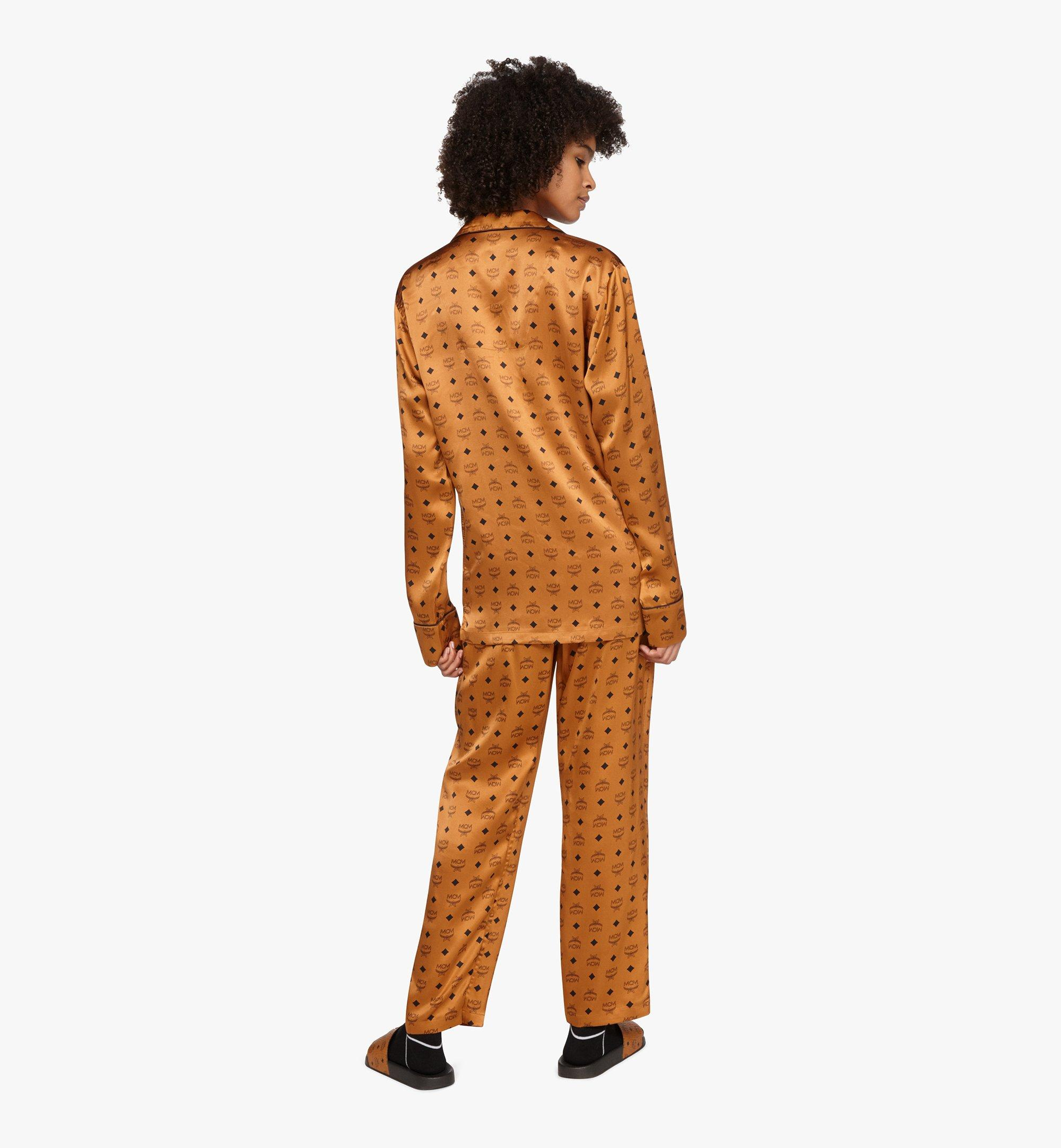 MCM Classic Logo Silk Pajama Shirt Cognac MHHASBM01CO00L Alternate View 4