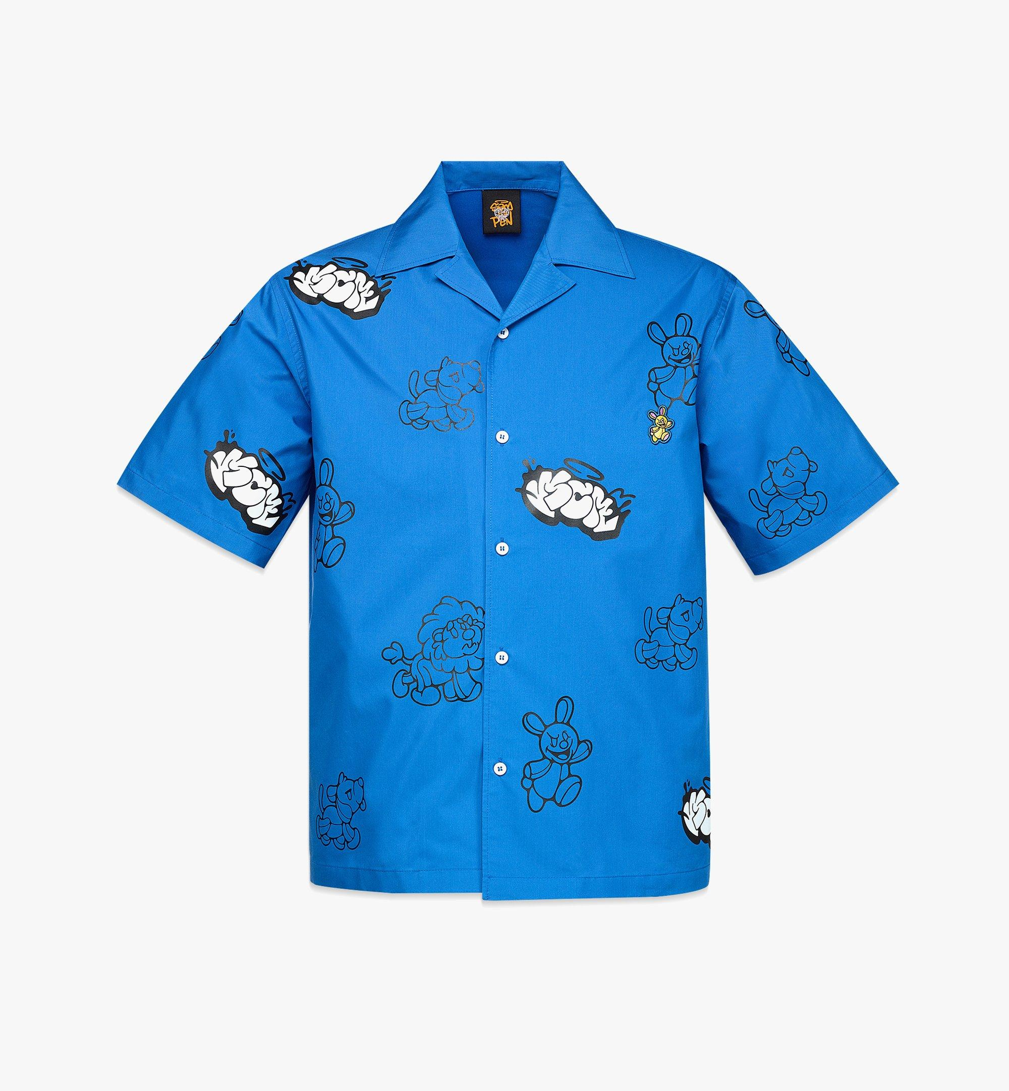 MCM MCM x SAMBYPEN Men's Short Sleeve Shirt Blue MHHBASP01LU00L Alternate View 1