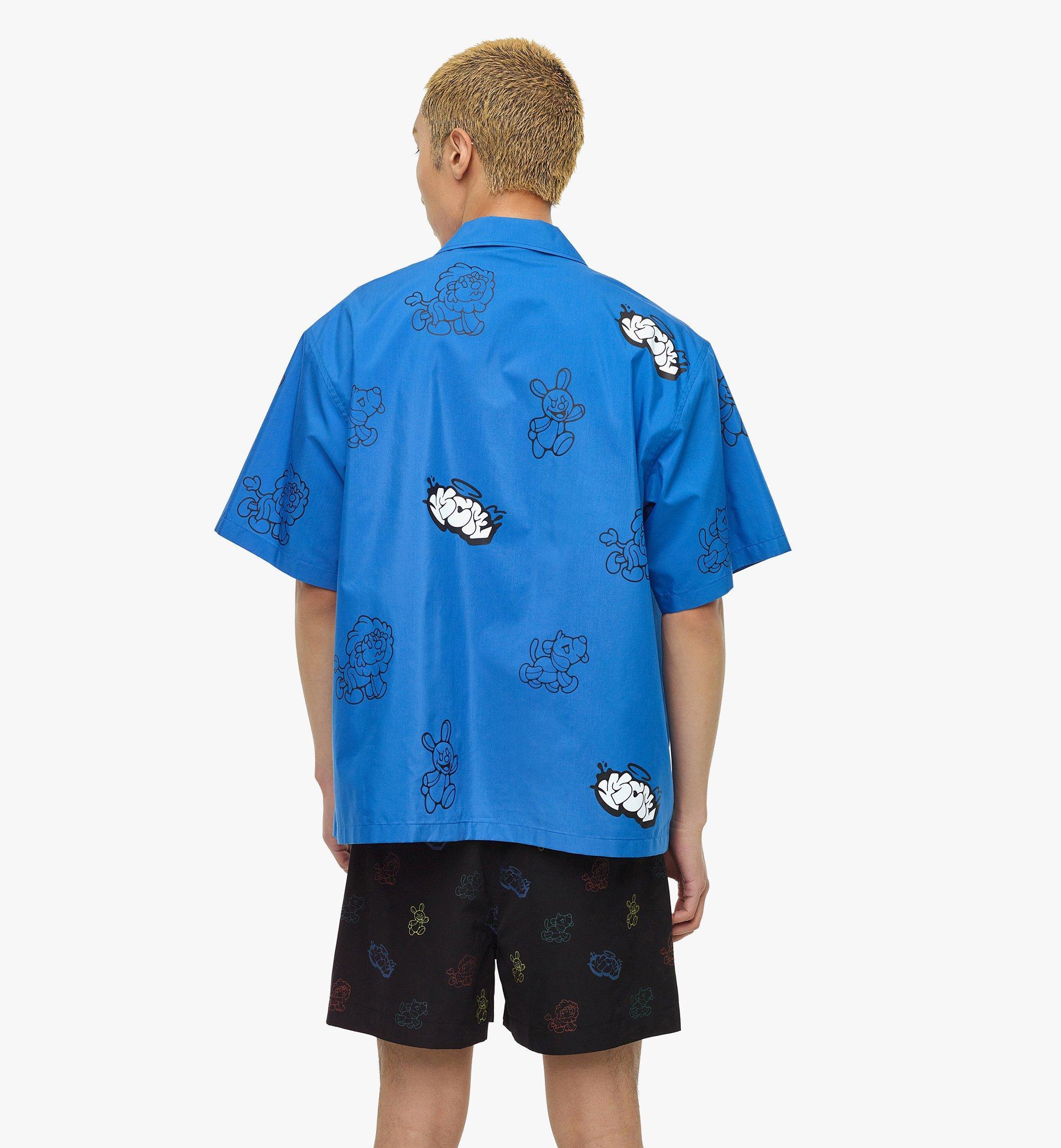 MCM MCM x SAMBYPEN Men's Short Sleeve Shirt Blue MHHBASP01LU00L Alternate View 4