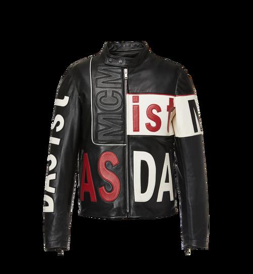 Men's Intarsia Leather Racer Jacket