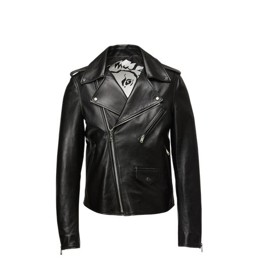 Men's Embossed Logo Leather Rider Jacket
