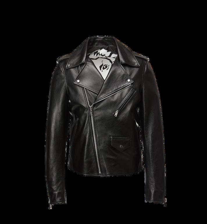 MCM Herren Bikerjacke mit geprägtem Logo aus Leder Alternate View