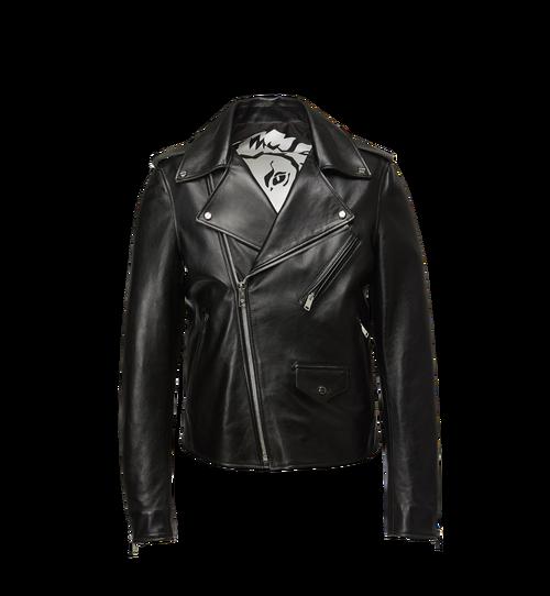 Men's Embossed Logo Leather Rider Jacket
