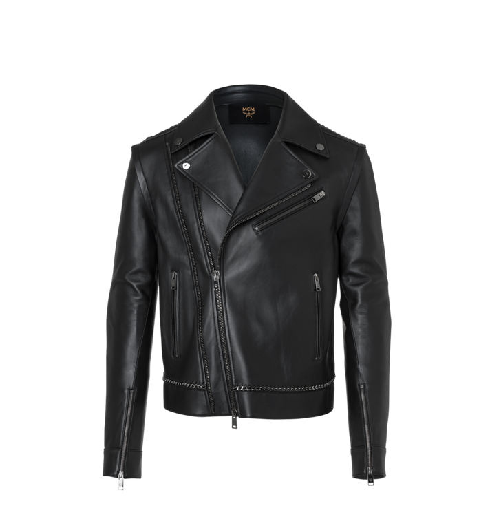 MCM Men's Chain Detail Leather Rider Jacket Alternate View
