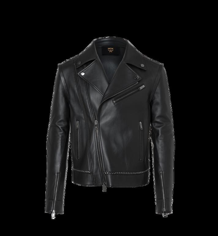 MCM Men's Chain Detail Leather Rider Jacket Alternate View