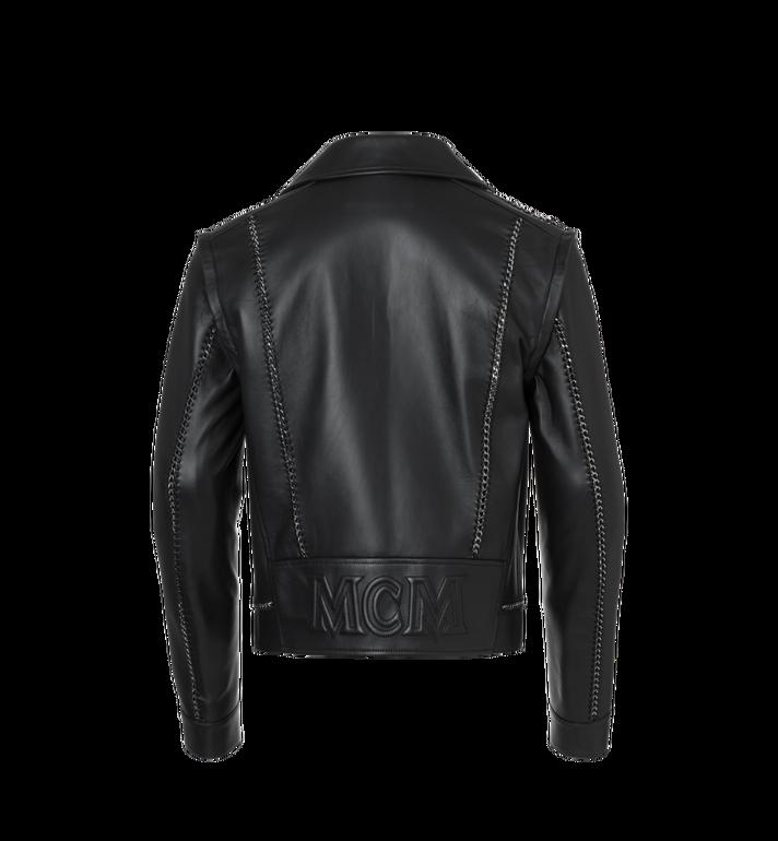 MCM Men's Chain Detail Leather Rider Jacket Alternate View 3