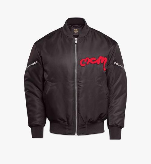 Men's Bold Logo Bomber Jacket in Nylon Gabardine
