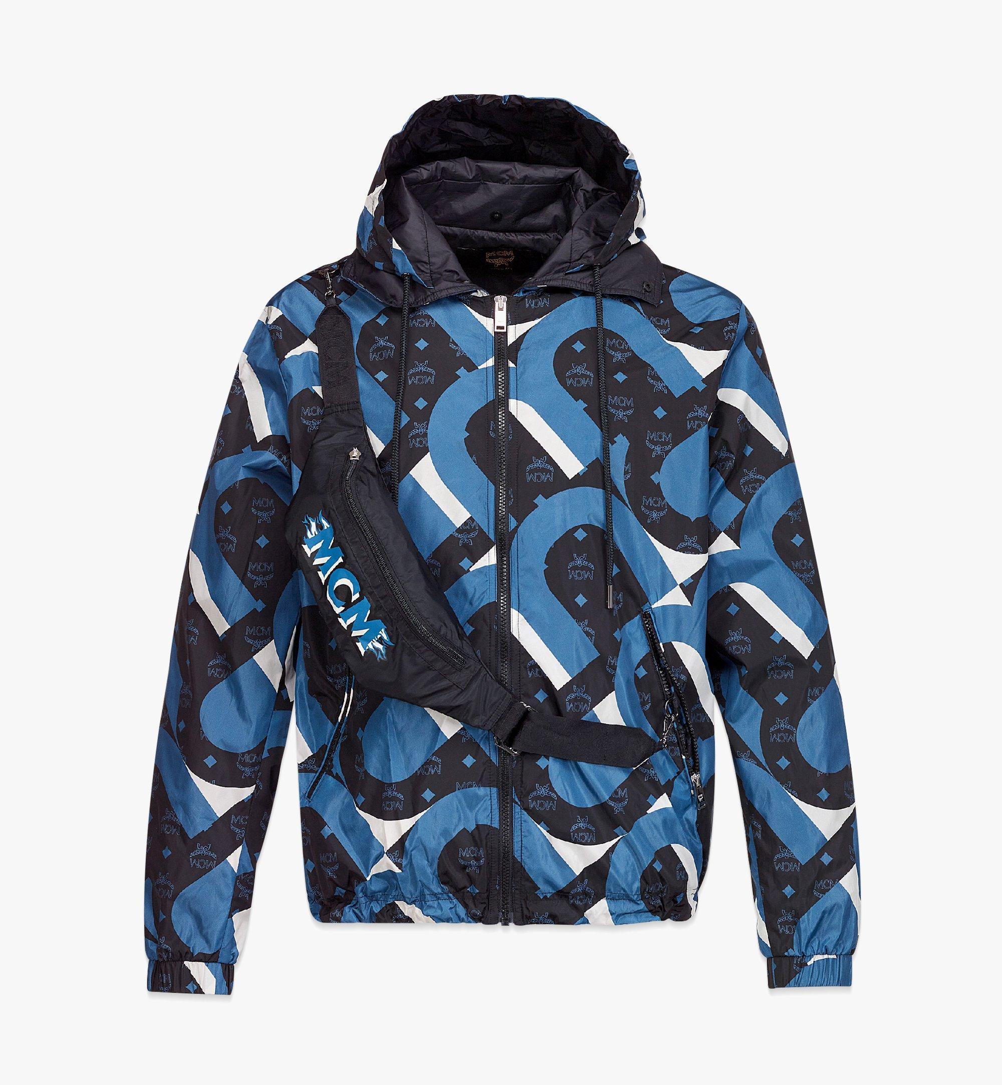 MCM Men's Wave Visetos Print Windbreaker with Belt Bag in ECONYL® Blue MHJBASX01H9048 Alternate View 1