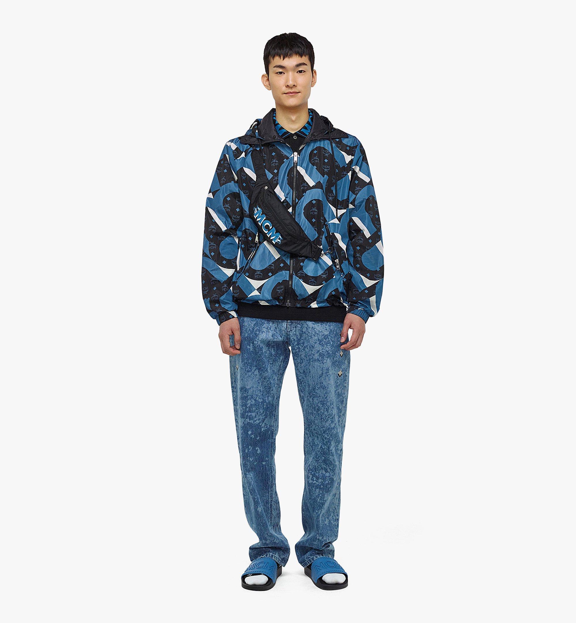 MCM Men's Wave Visetos Print Windbreaker with Belt Bag in ECONYL® Blue MHJBASX01H9048 Alternate View 3