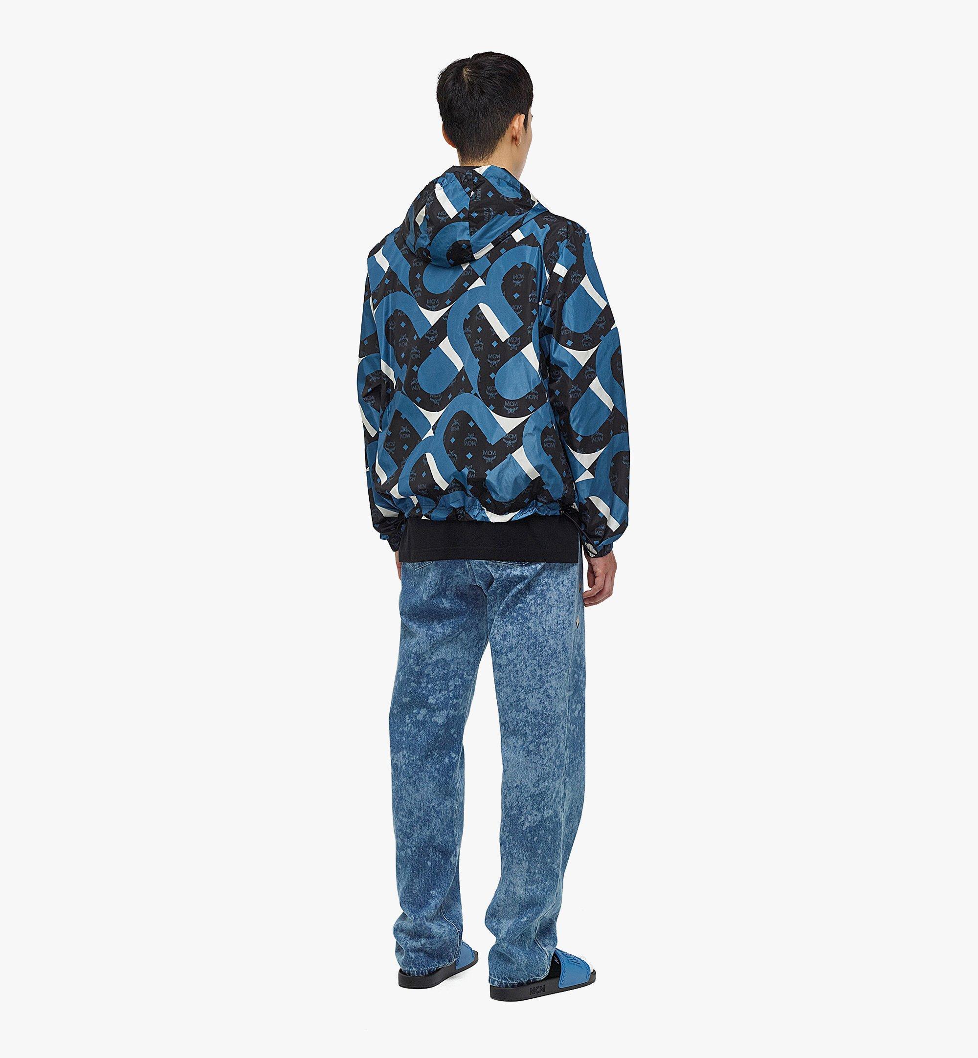 MCM Men's Wave Visetos Print Windbreaker with Belt Bag in ECONYL® Blue MHJBASX01H9050 Alternate View 2
