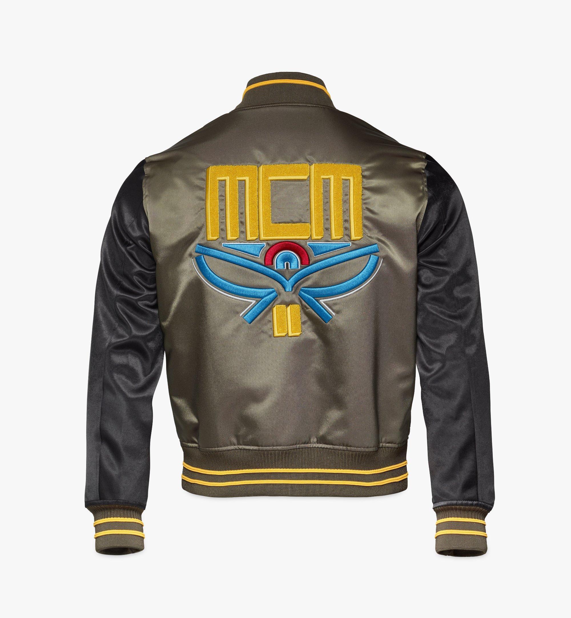 MCM Men's Varsity Jacket in Geo Laurel Nylon Black MHJBSMM01B2048 Alternate View 1