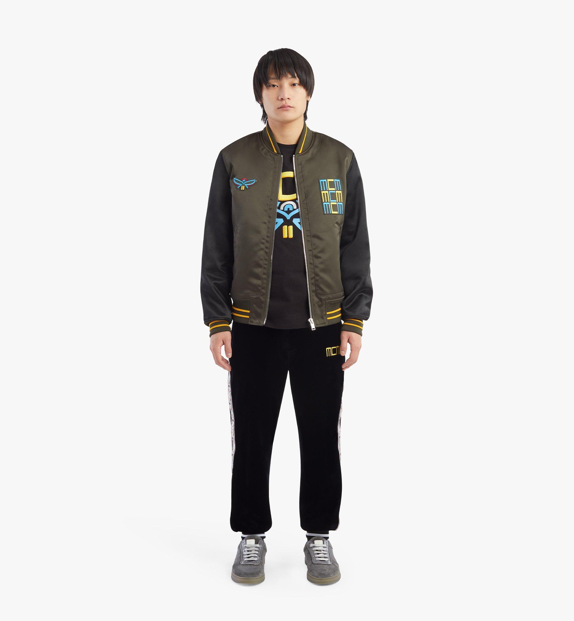 MCM Men's Varsity Jacket in Geo Laurel Nylon Black MHJBSMM01B2048 Alternate View 3