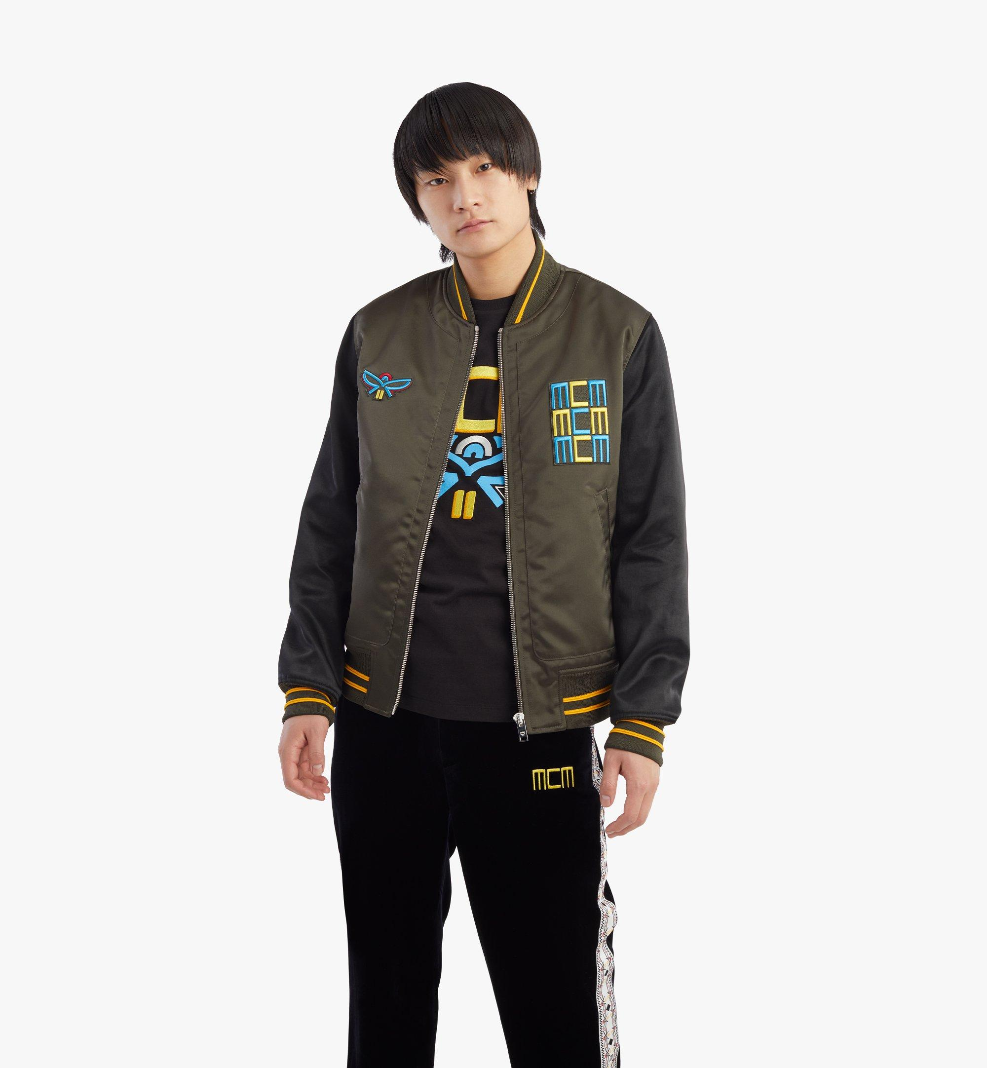 MCM Men's Varsity Jacket in Geo Laurel Nylon Black MHJBSMM01B2048 Alternate View 2