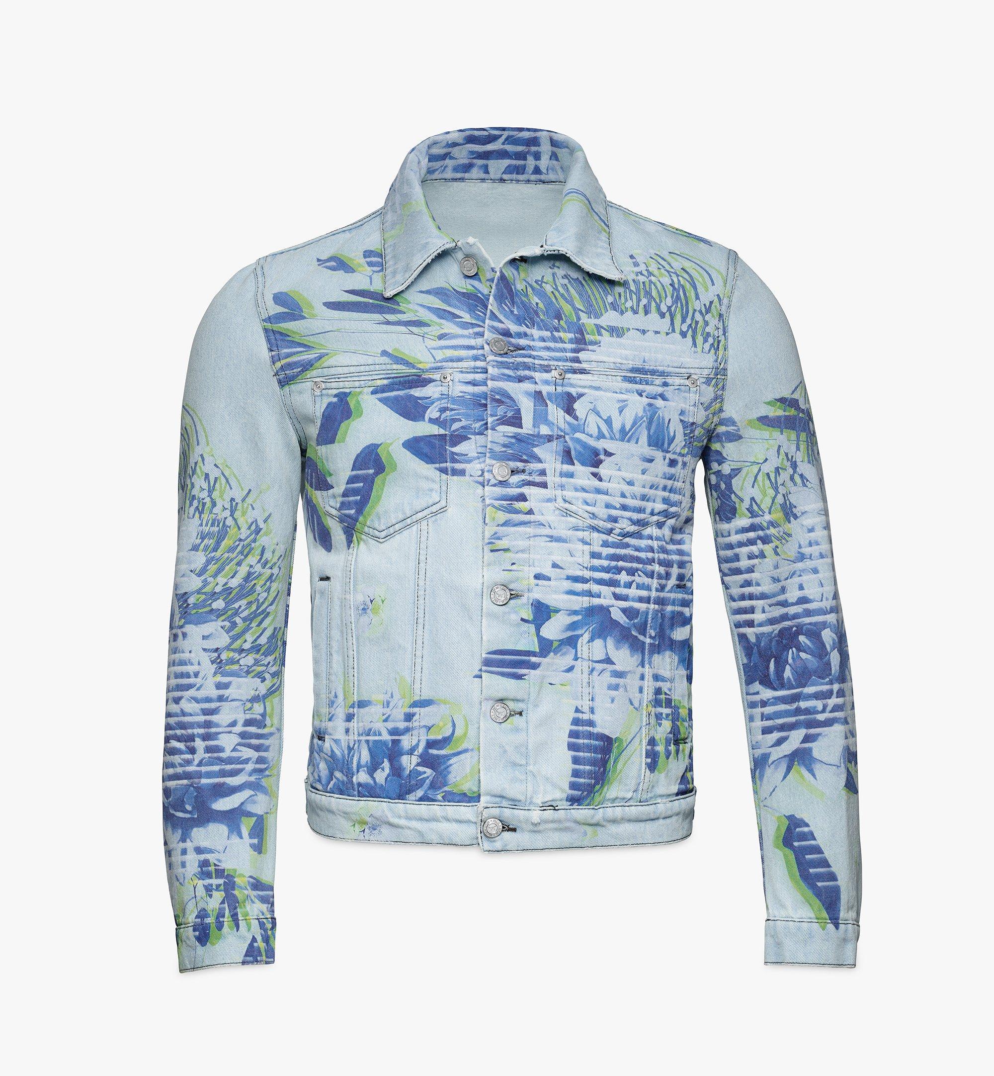 MCM Men's Tech Flower Denim Jacket Blue MHJBSMM03LE048 Alternate View 1