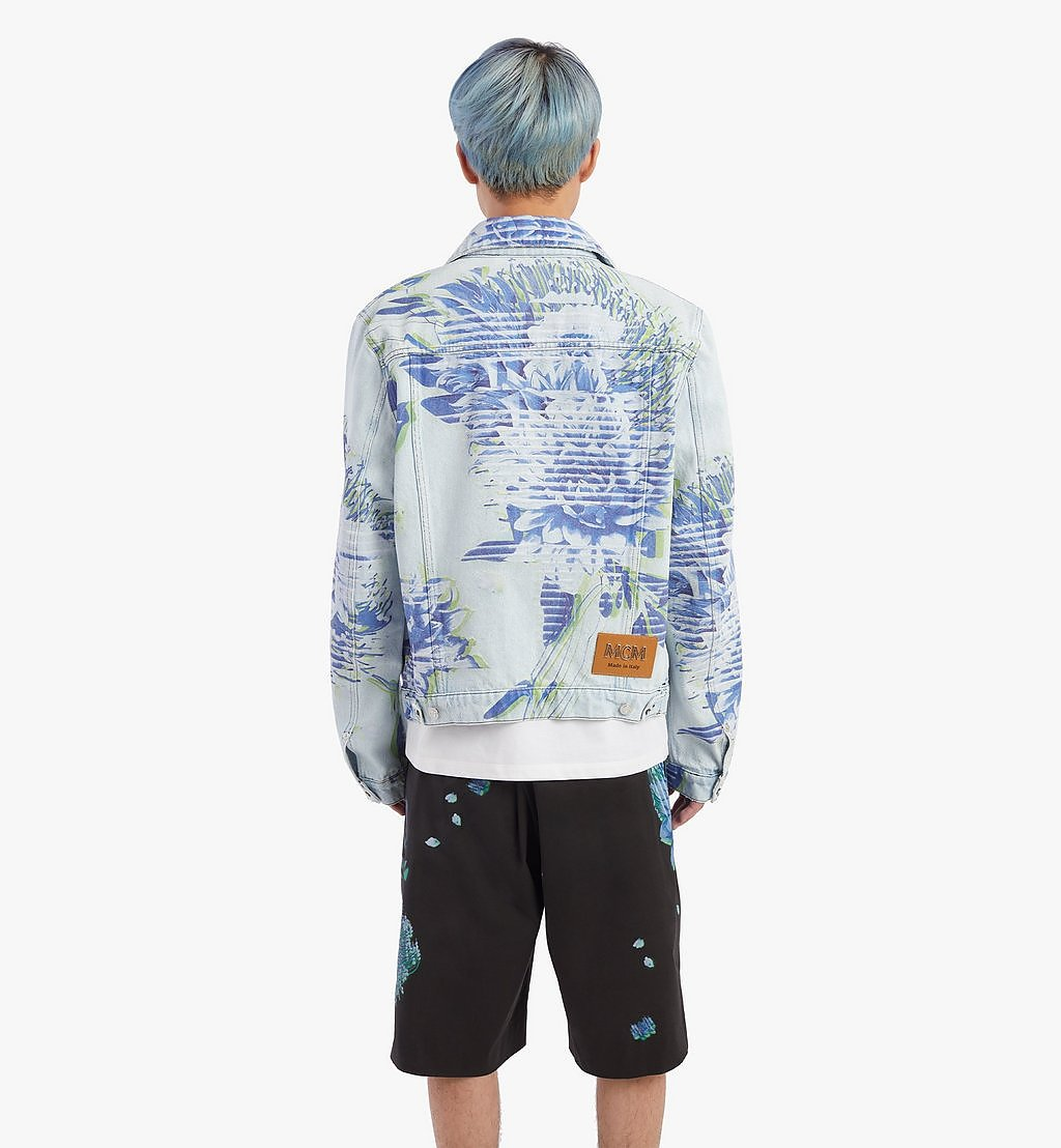 MCM Men's Tech Flower Denim Jacket Blue MHJBSMM03LE048 Alternate View 3