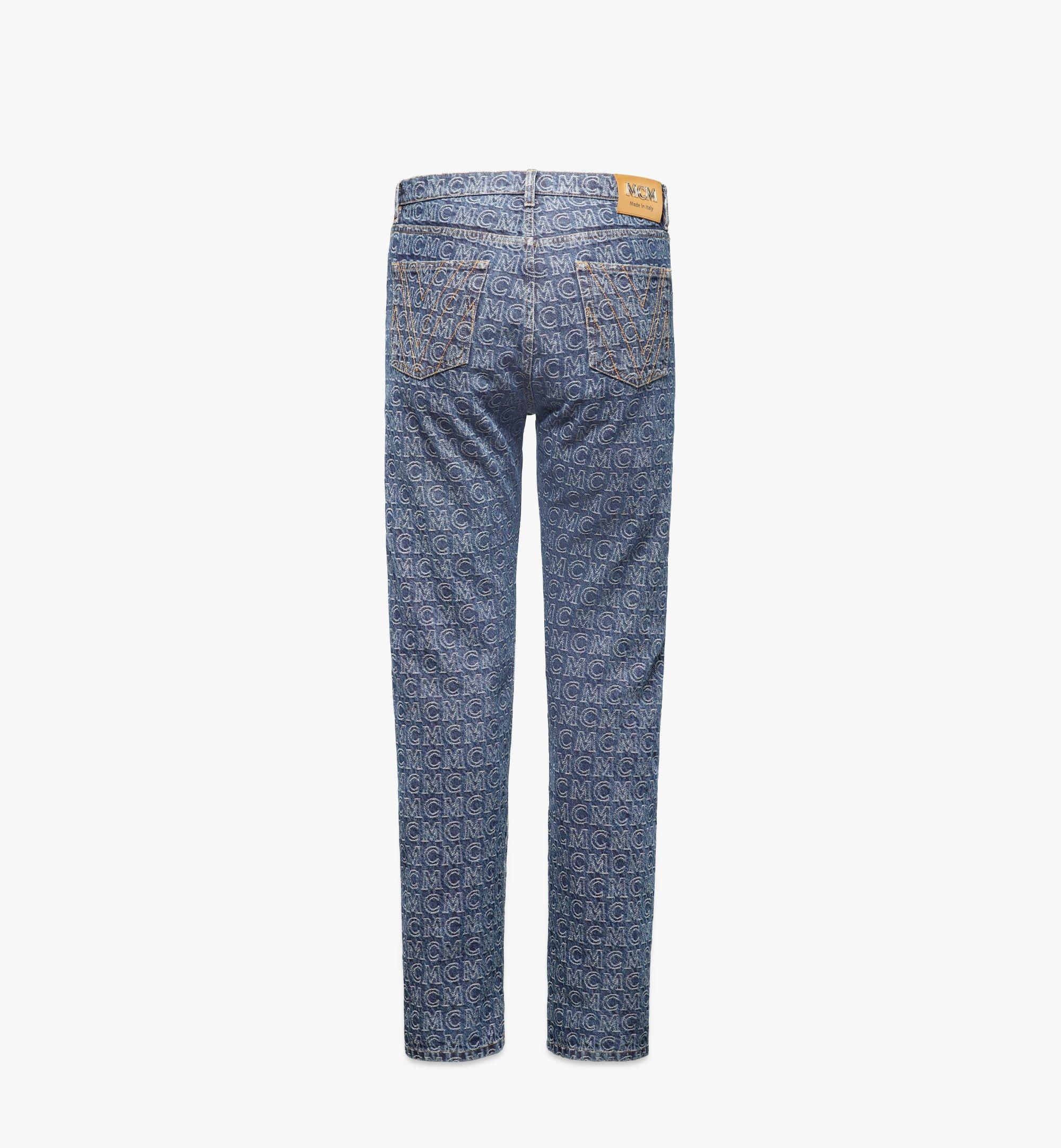 MCM Men's Monogram Straight Leg Jeans Blue MHPAADS01VW046 Alternate View 1
