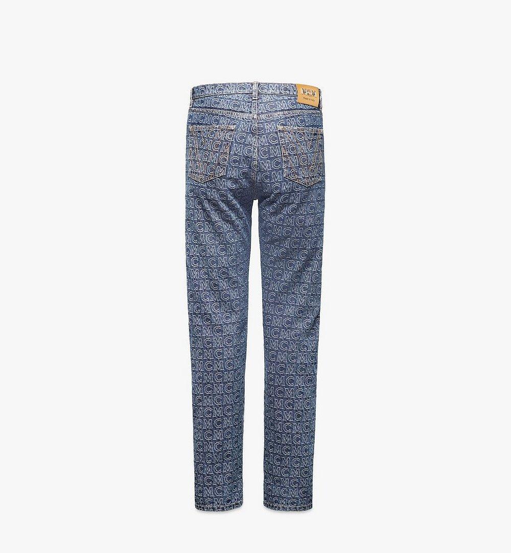 MCM Men's Monogram Straight Leg Jeans Black MHPAADS01VW048 Alternate View 1