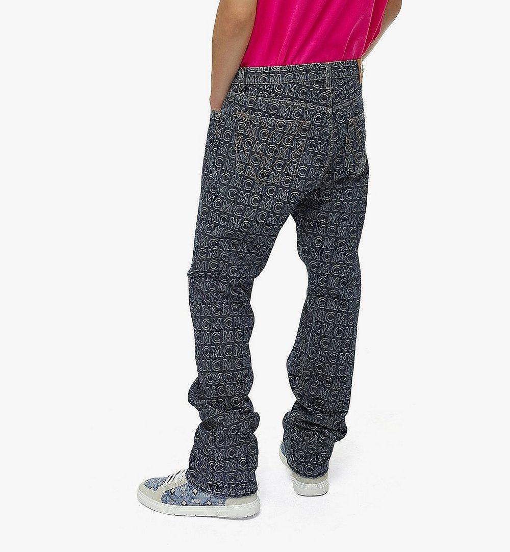 MCM Men's Monogram Straight Leg Jeans Black MHPAADS01VW048 Alternate View 3