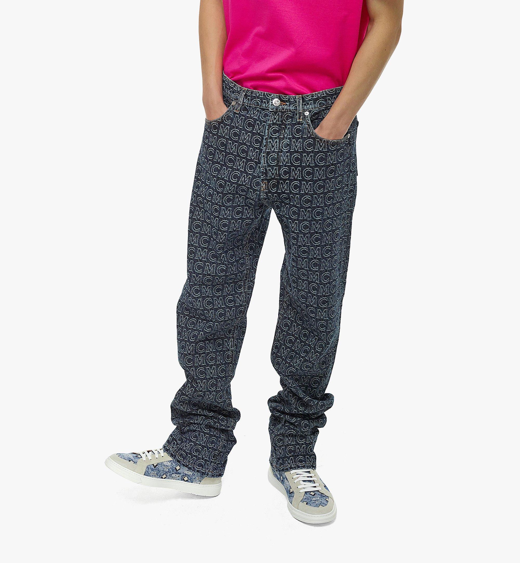 MCM Men's Monogram Straight Leg Jeans Black MHPAADS01VW050 Alternate View 2