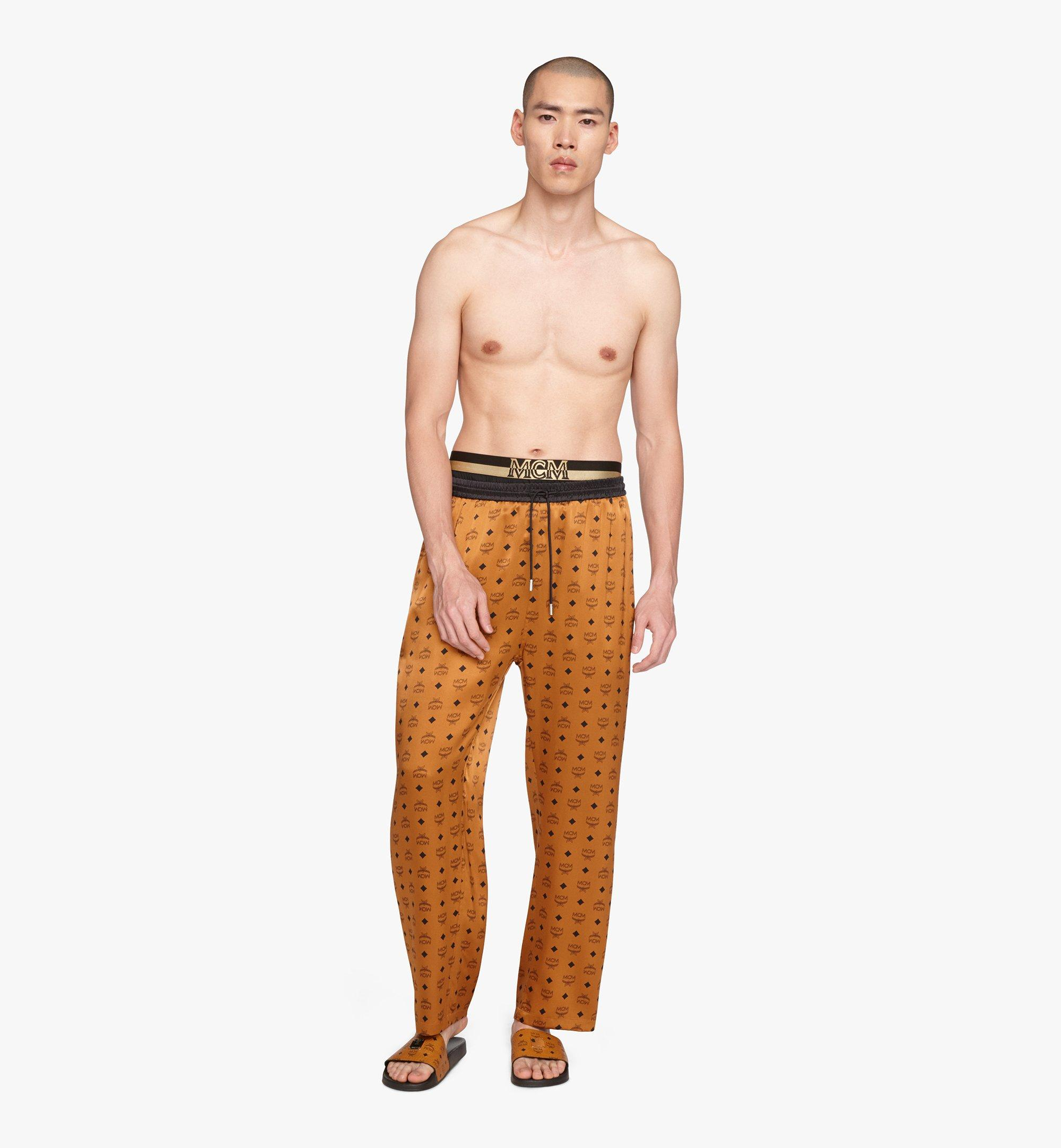 MCM Classic Logo Silk Pajama Pants Cognac MHPASBM01CO00L Alternate View 2