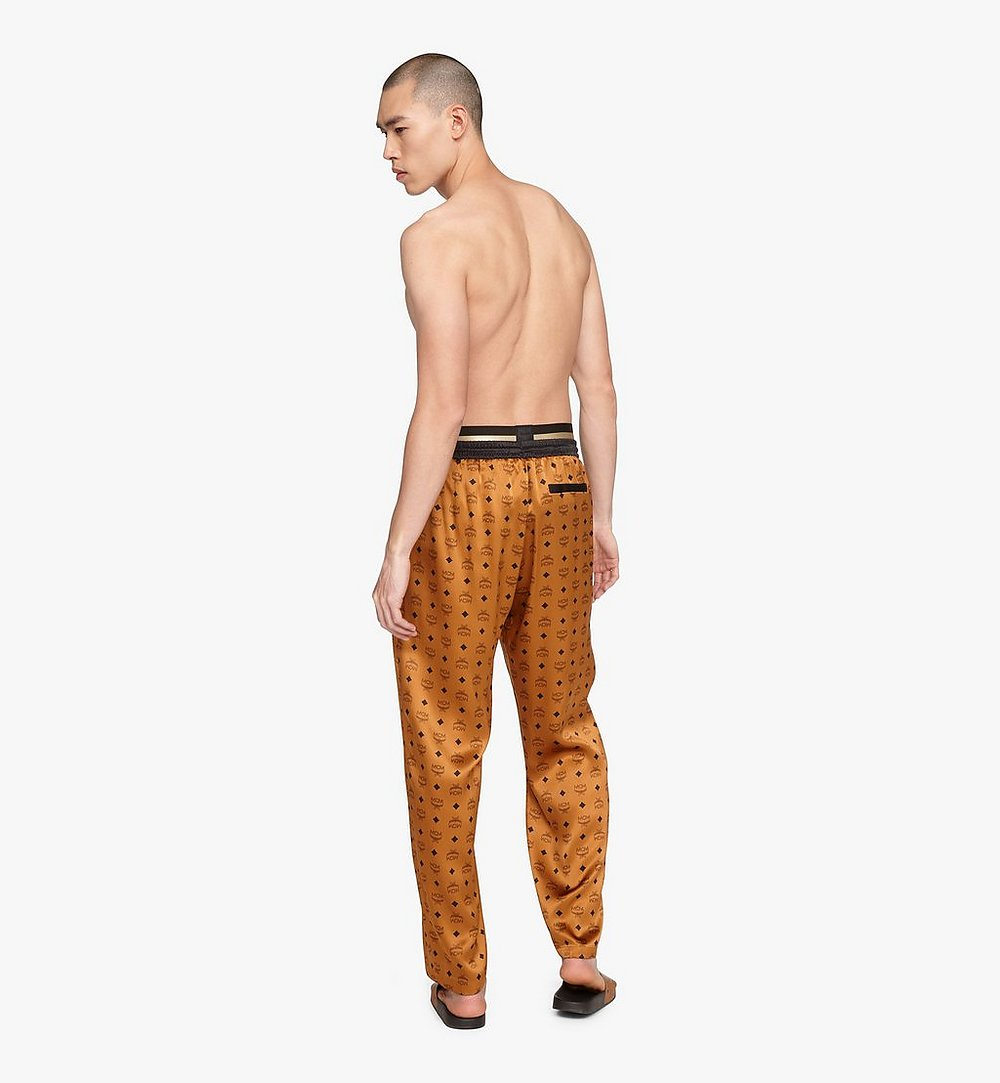 MCM Classic Logo Silk Pajama Pants Cognac MHPASBM01CO00L Alternate View 2
