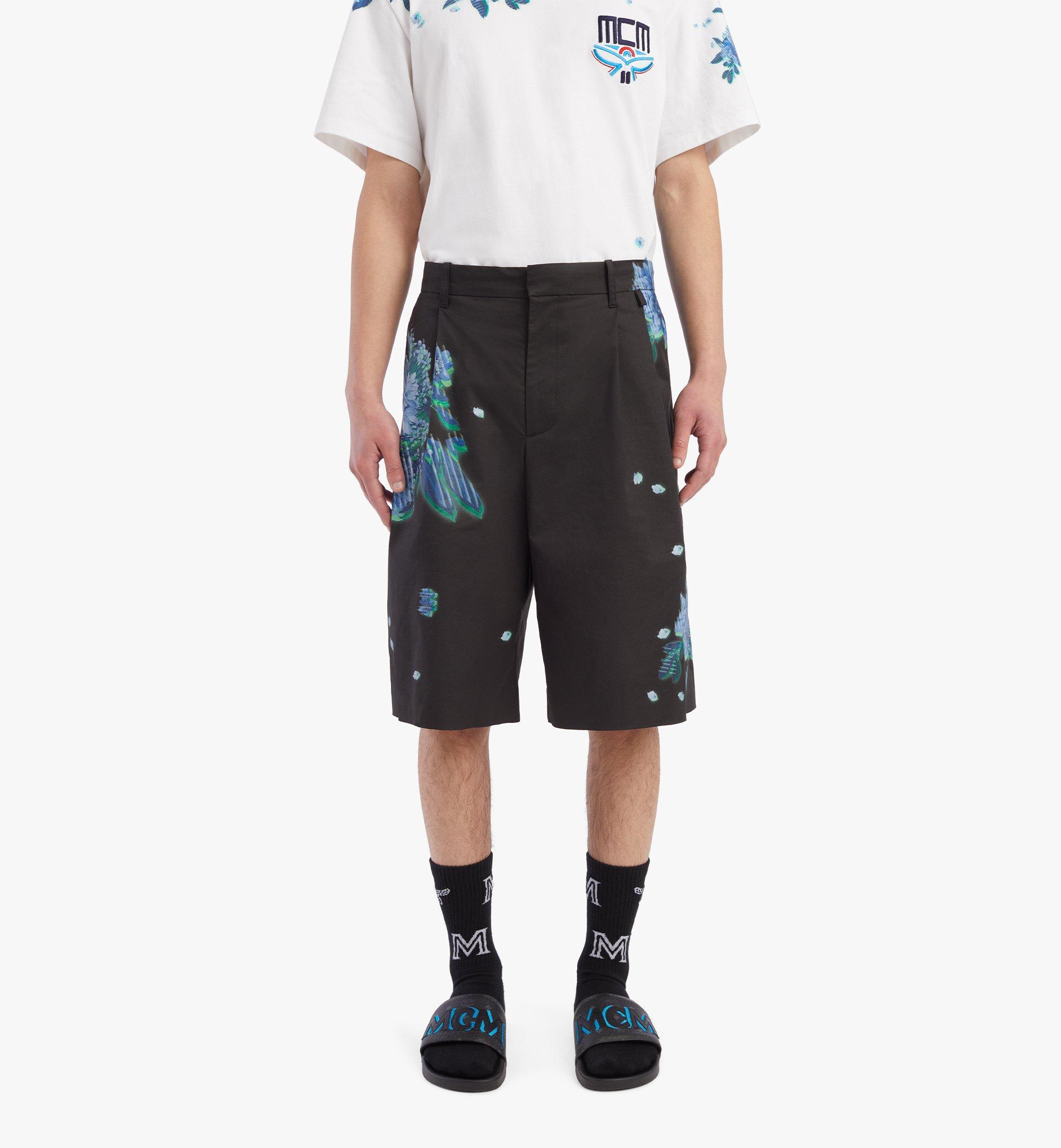 MCM Men's Tech Flower Print Shorts Black MHPBSMM01B2048 Alternate View 2