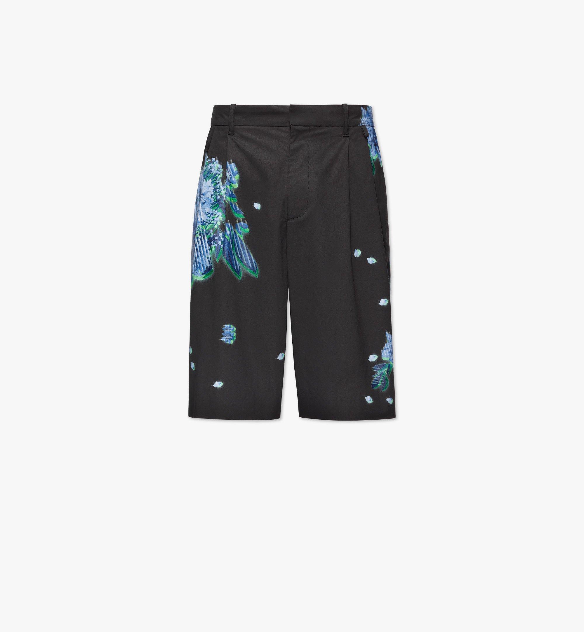 MCM Men's Tech Flower Print Shorts Black MHPBSMM01B2052 Alternate View 1