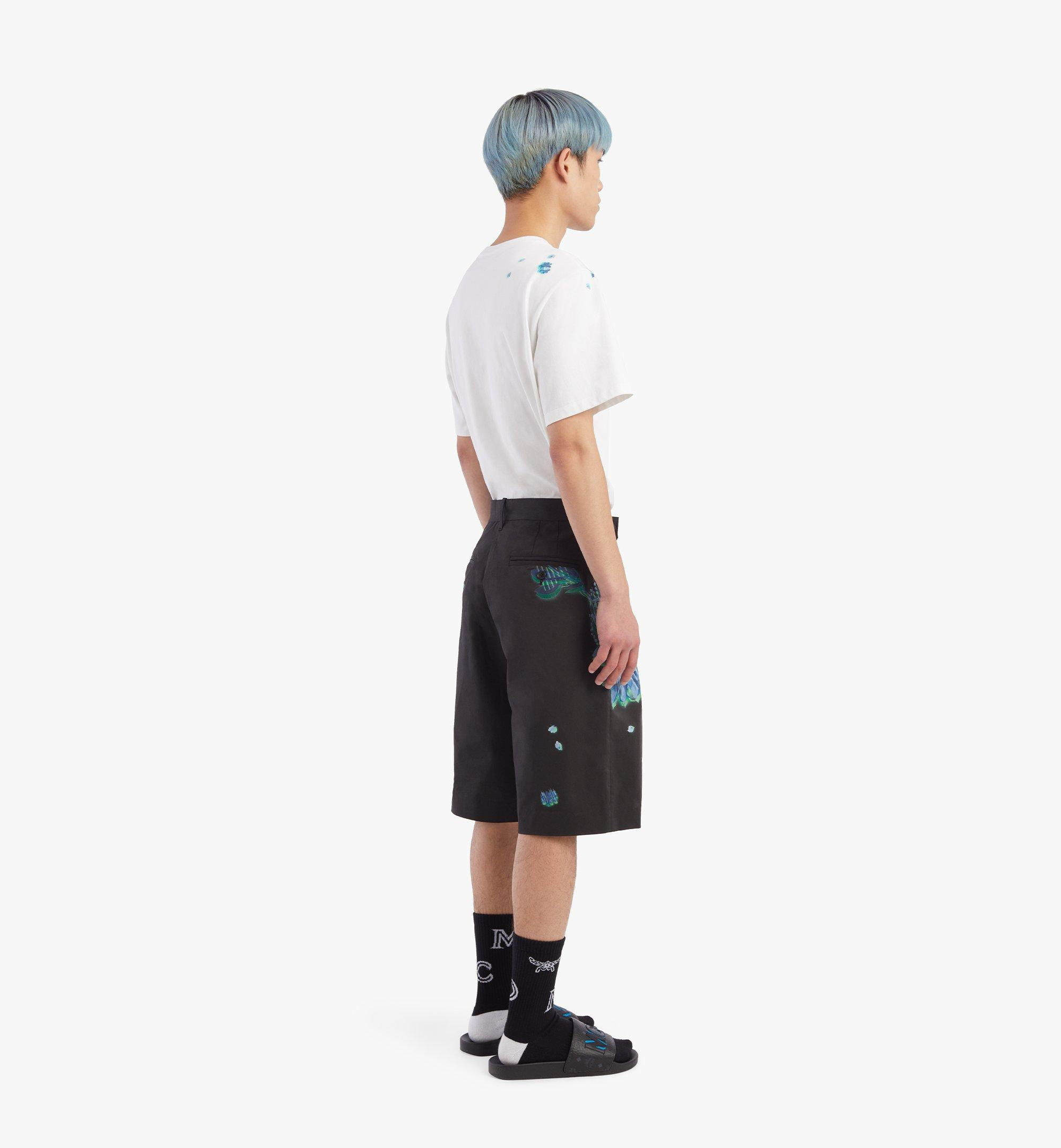 MCM Men's Tech Flower Print Shorts Black MHPBSMM01B2052 Alternate View 2