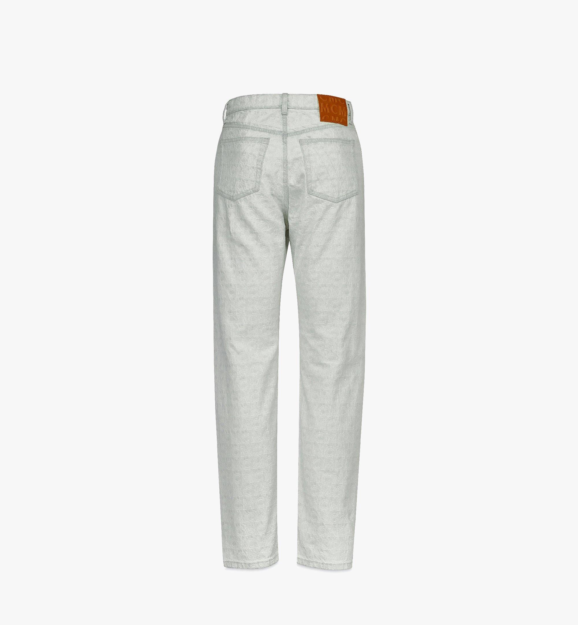 MCM 男士经典花纹直筒牛仔裤 White MHPBSMM03WO046 更多视角 2