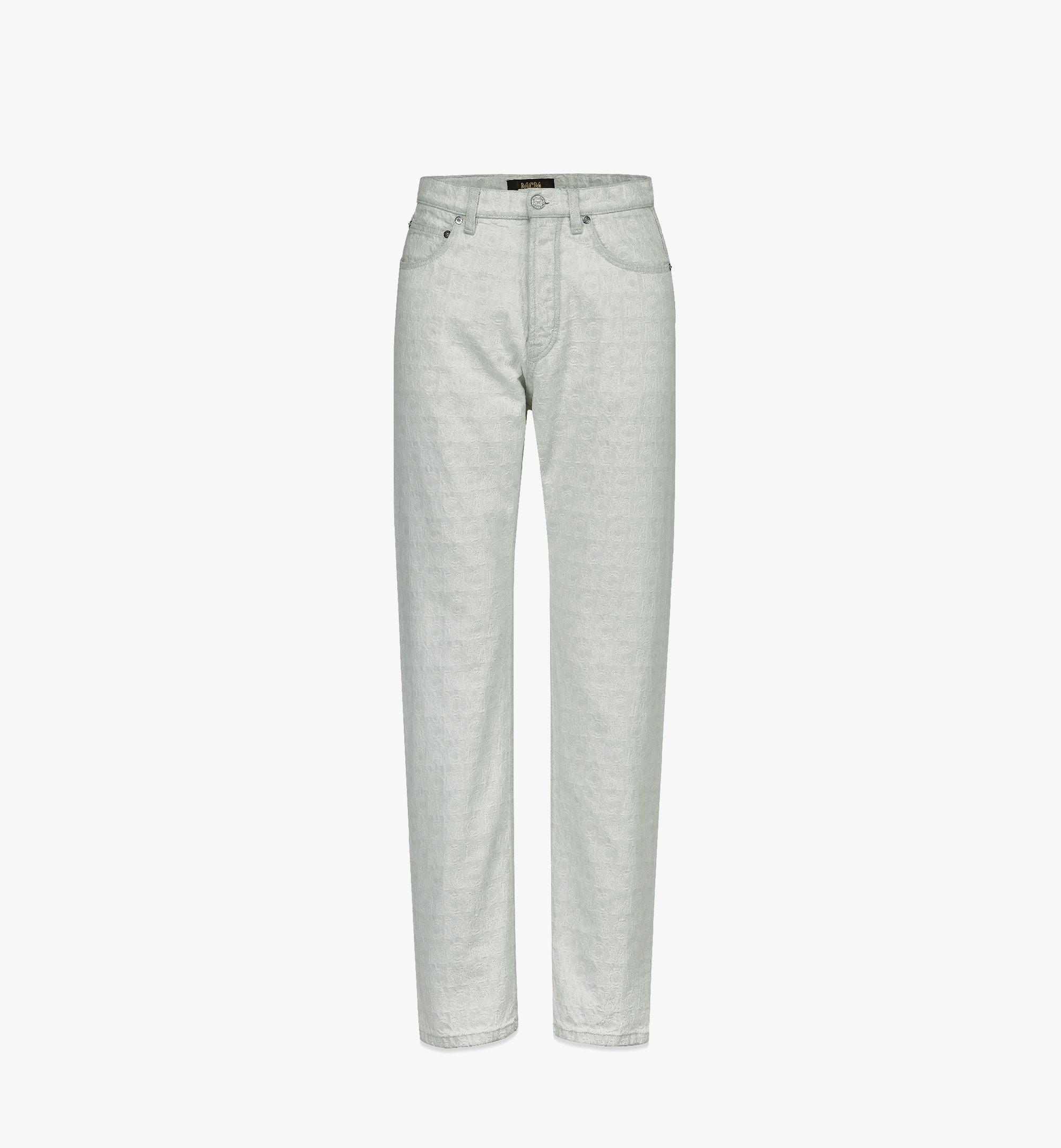 MCM Men's Monogram Straight-Leg Denim Jeans White MHPBSMM03WO050 Alternate View 1