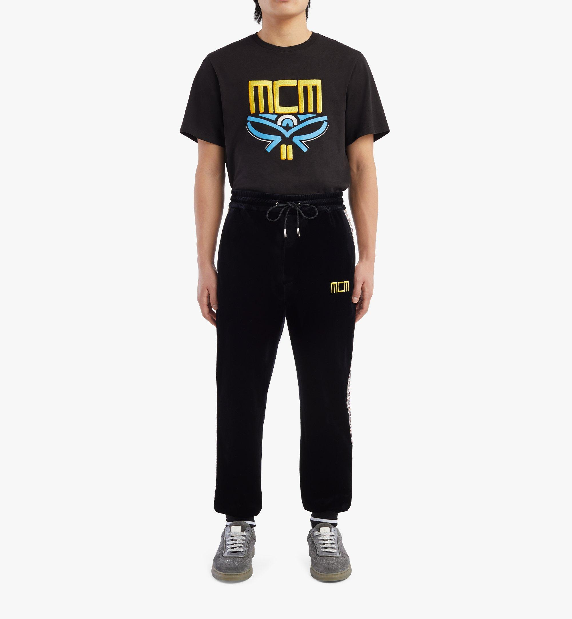 MCM Geo Laurel Track Pants in Velour Black MHPBSMM04BK00L Alternate View 3
