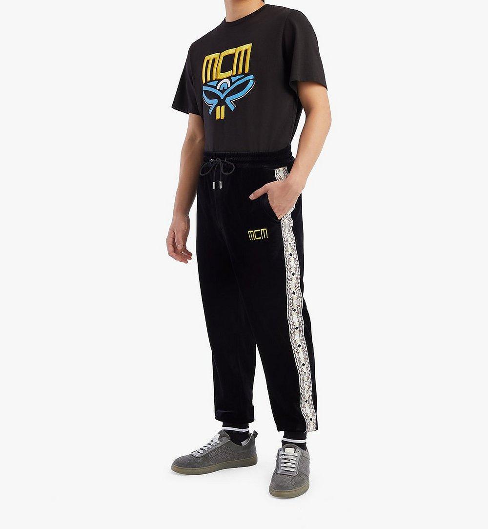 MCM Geo Laurel Track Pants in Velour Black MHPBSMM04BK00L Alternate View 2