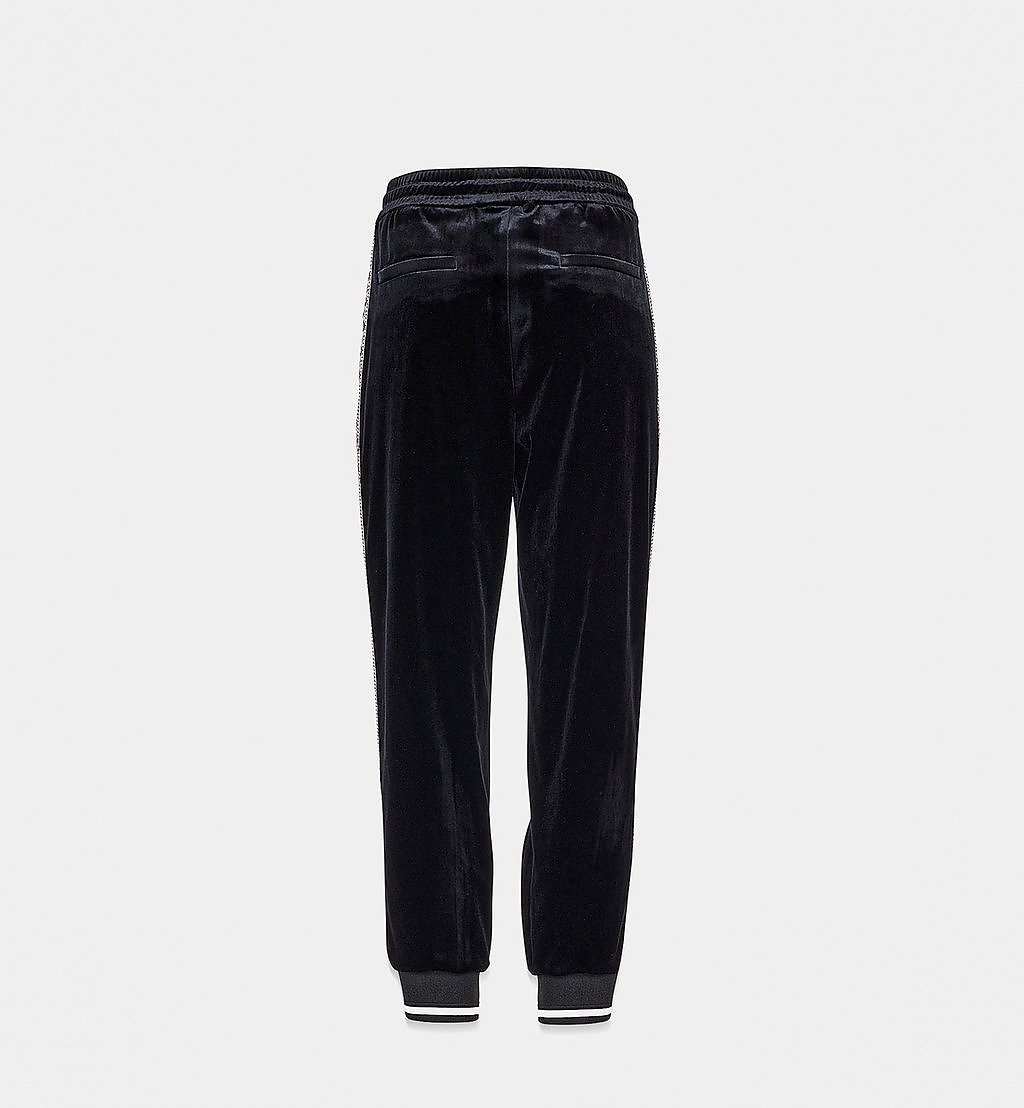 MCM Geo Laurel Track Pants in Velour Black MHPBSMM04BK00S Alternate View 1