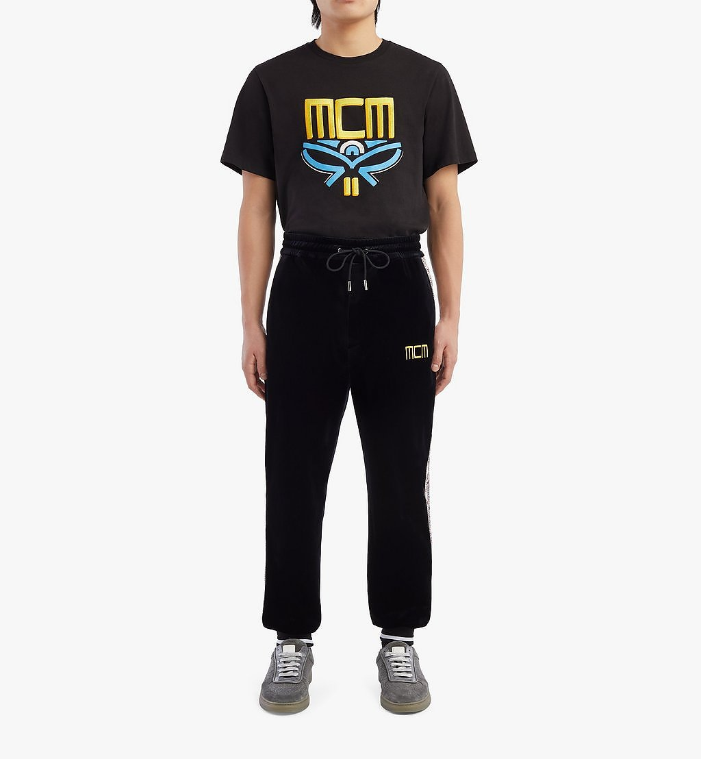 MCM Geo Laurel Track Pants in Velour Black MHPBSMM04BK00S Alternate View 3