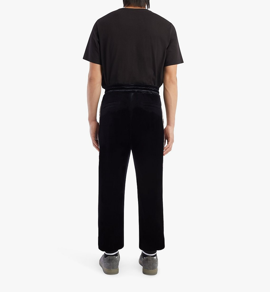 MCM Geo Laurel Track Pants in Velour Black MHPBSMM04BK00S Alternate View 2