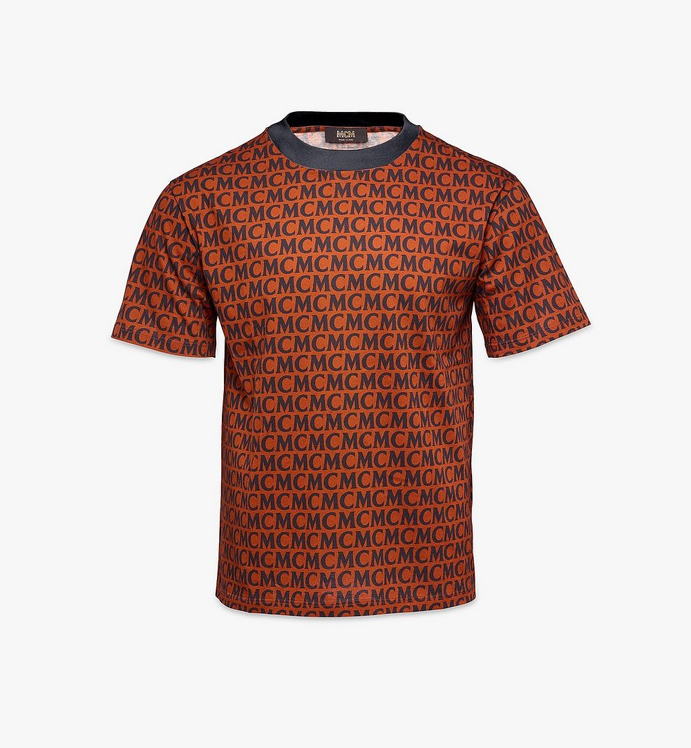 MCM Men's Monogram T-Shirt Brown MHTAAMD01C400L Alternate View 1